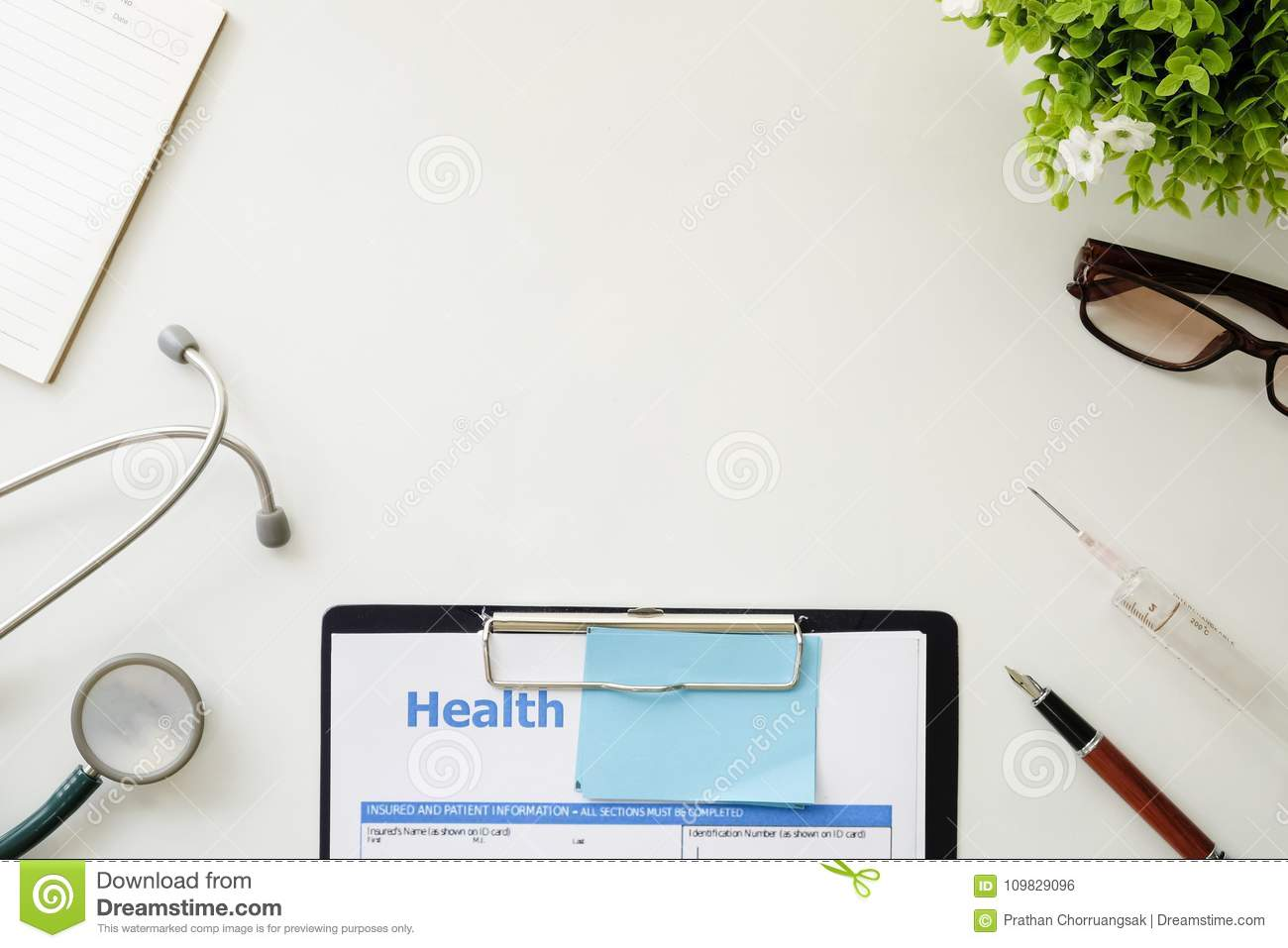 Medical Equipment,White Background With Stethoscope Office Mockup