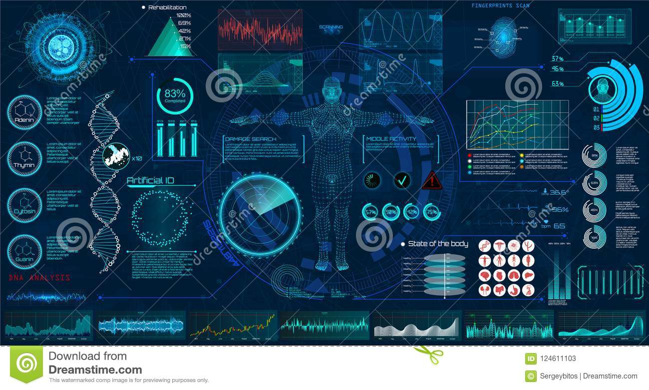 Medical Examination Hud Elements Set Interface Stock Vector Complete Ecg Circuit Diagram With Virtual Ground Display Dna Formula Monitor Body Scan Infographic Icons Statistic And Diagrams Modern Research Of Human Health