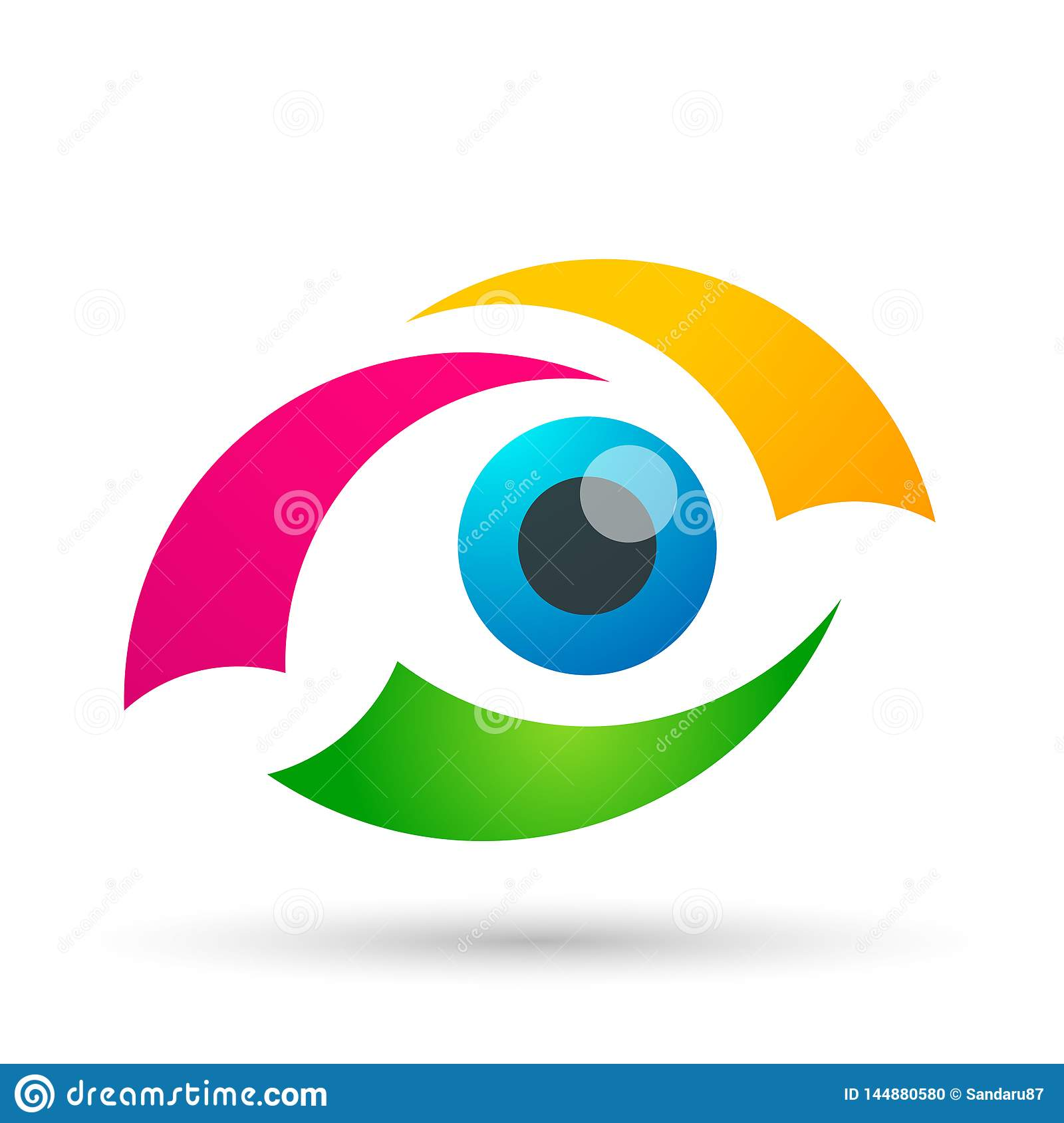 Medical eye care globe family health concept logo icon element sign on white background