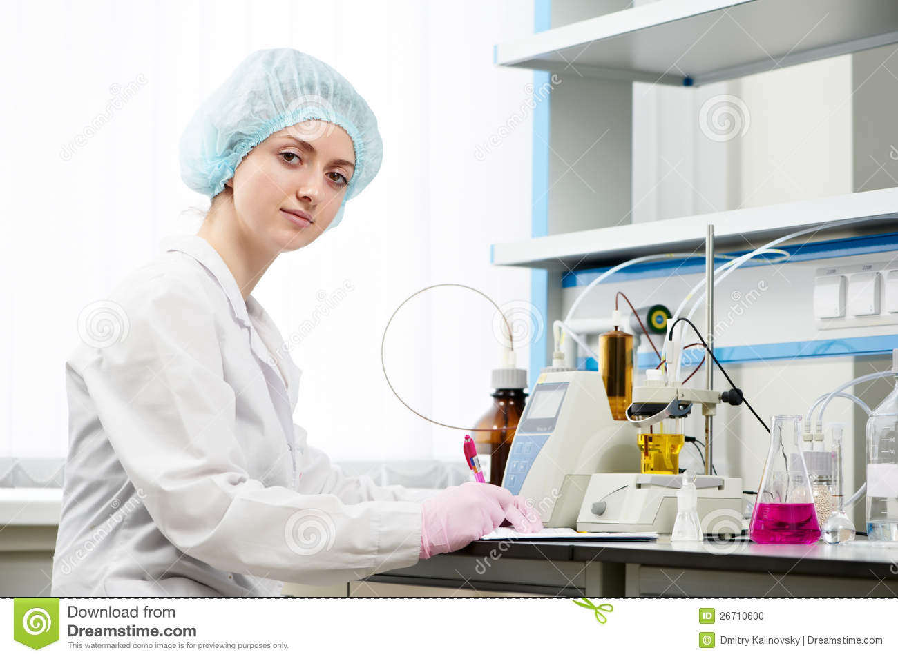 Medical Female Pharmacy Scientist In A Laboratory Stock