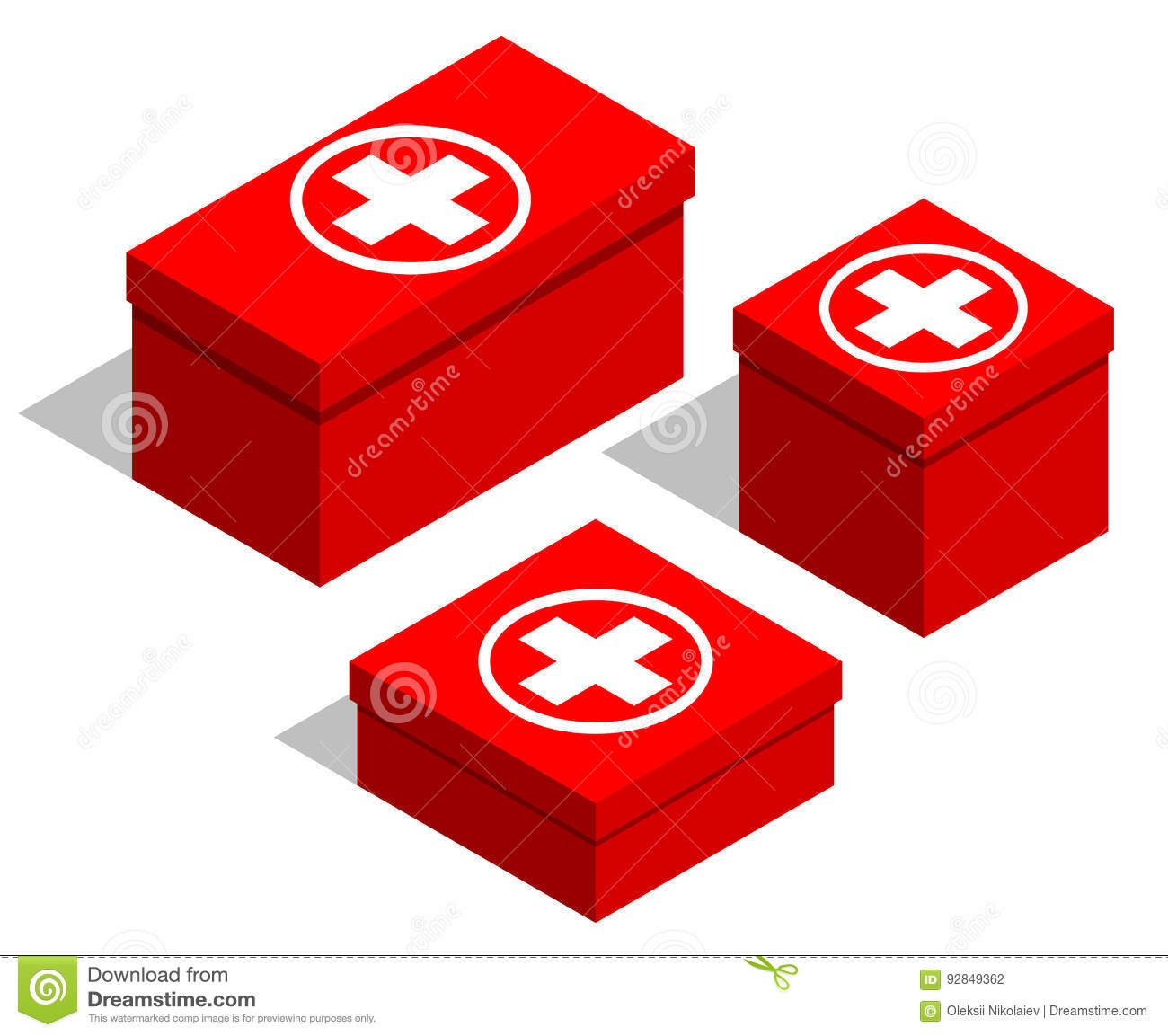 Medical first-aid kits. Set of red boxes with a medical symbol on the lid. Isolated objects on white background