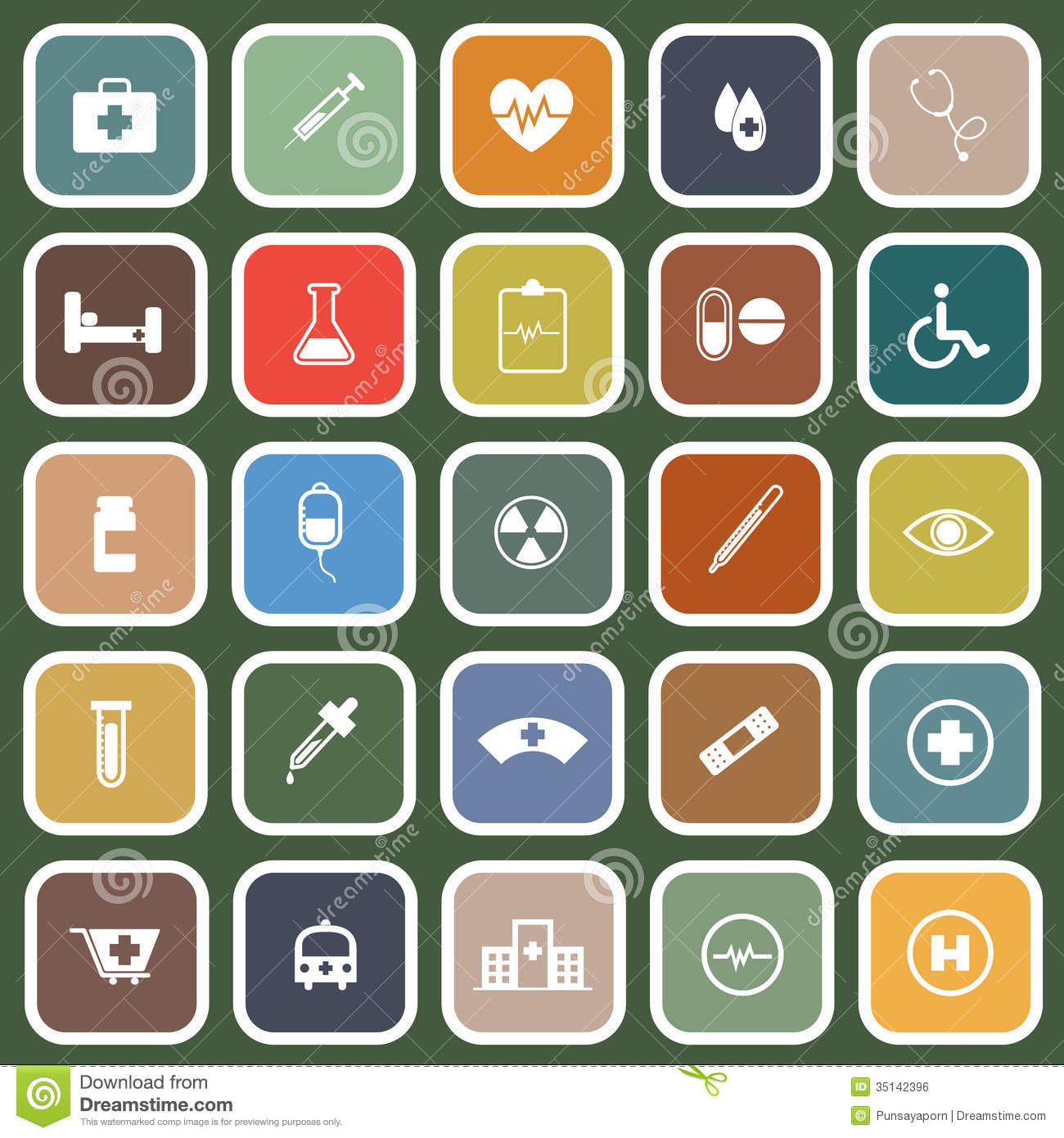 Medical Flat Icons On Green Background Royalty Free Stock Image ...
