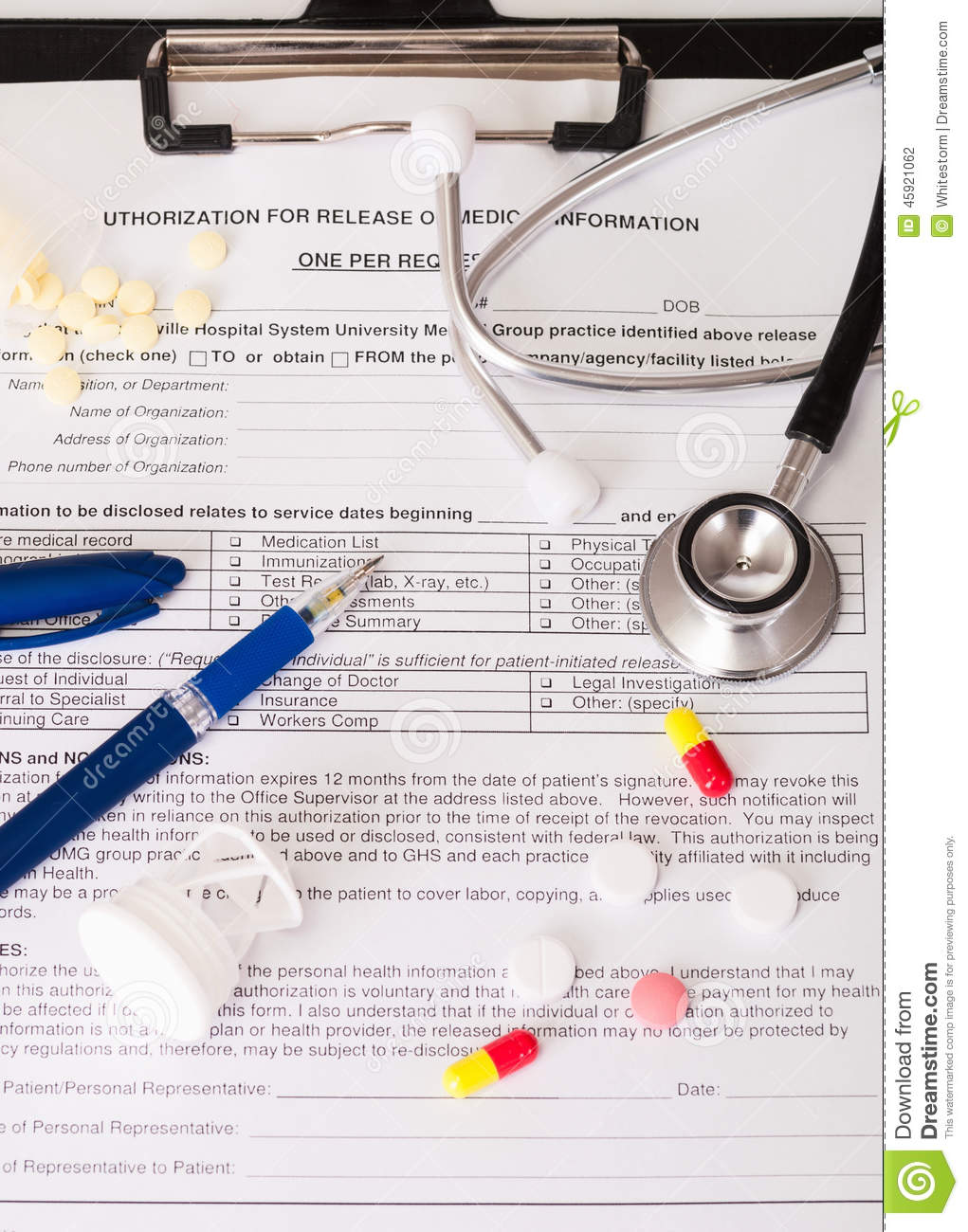 Medical form stock photo  Image of blue, care, doctor - 45921062