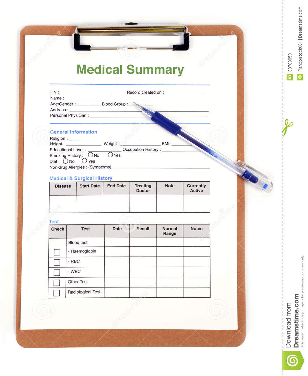 Medical Form Royalty Free Images Image 33783059 – Medical Form