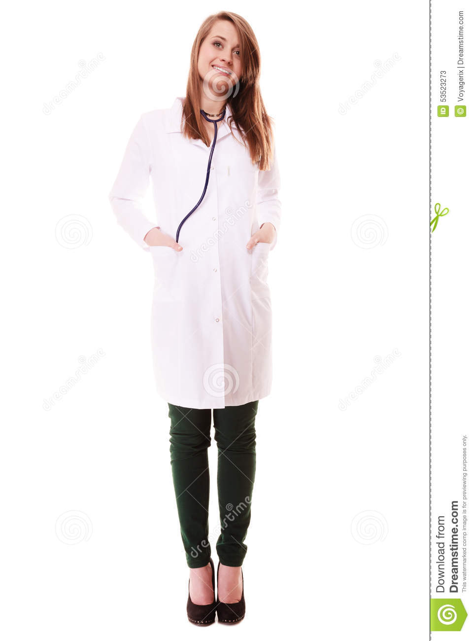 Medical. Full Length Of Woman Doctor In Lab Coat Stock Photo ...