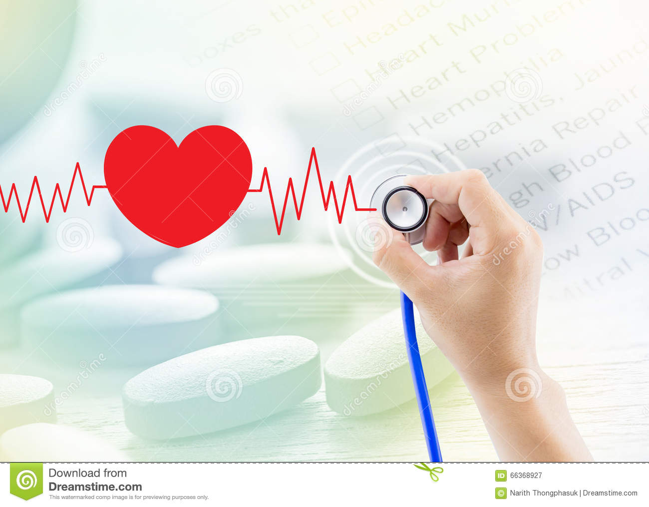 Medical, hand holding stethoscope, heart beat graph and pill