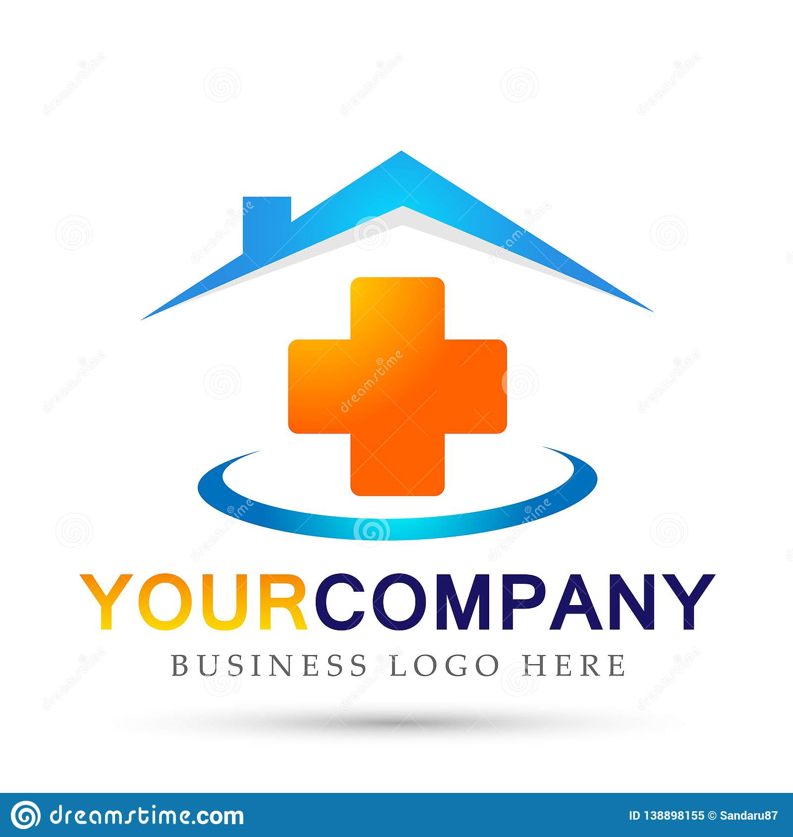 Medical health care clinic cross people home house healthy life care logo design icon on white background