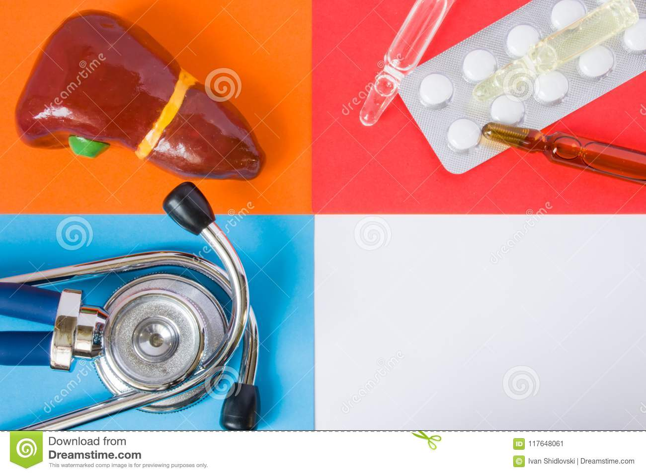 Medical or health care design concept photo-organ liver, diagnostic medical tool stethoscope and medications pills and vials