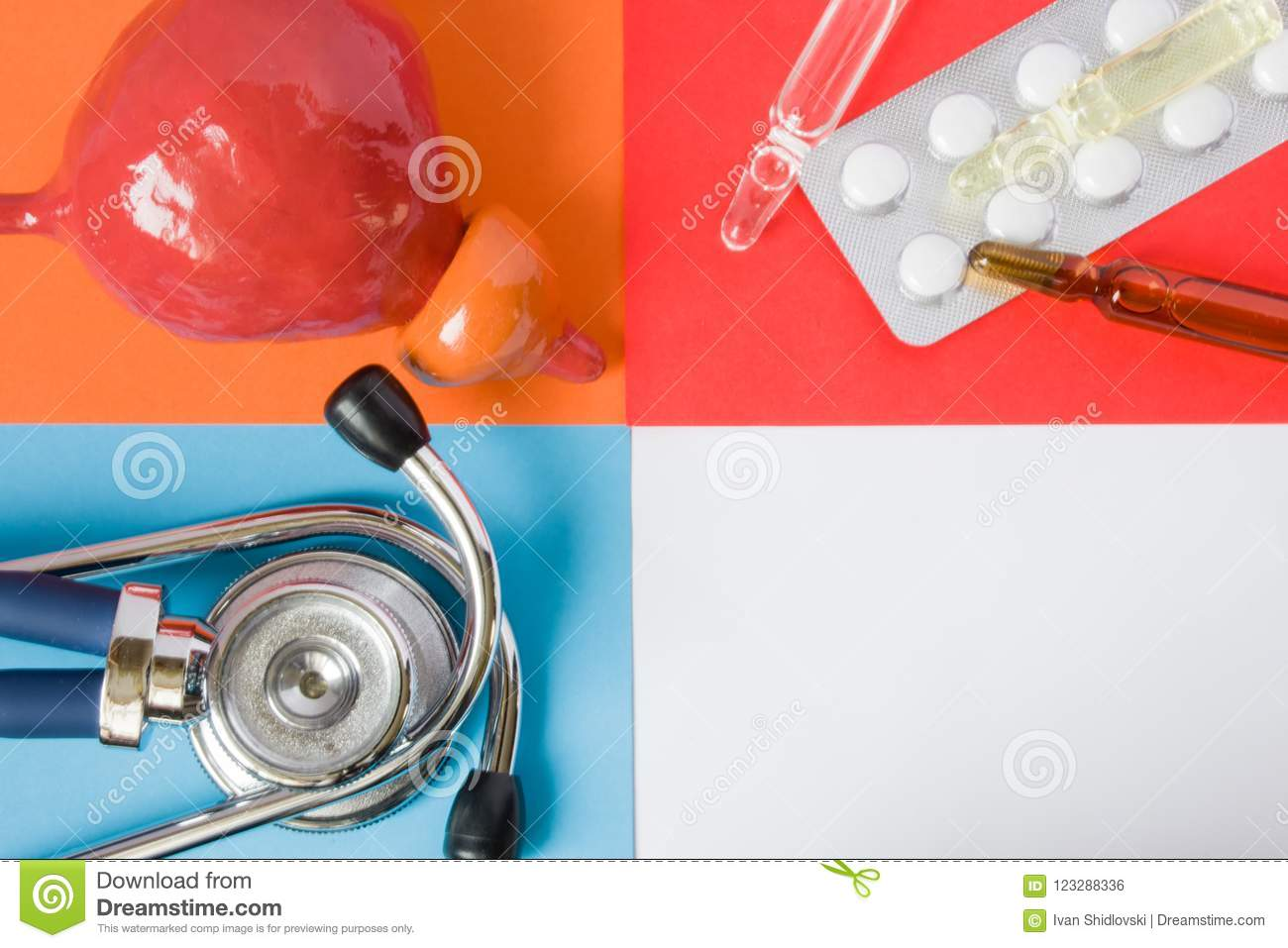 Medical or health care design concept photo-organ prostate, diagnostic medical tool stethoscope and medications pills and via