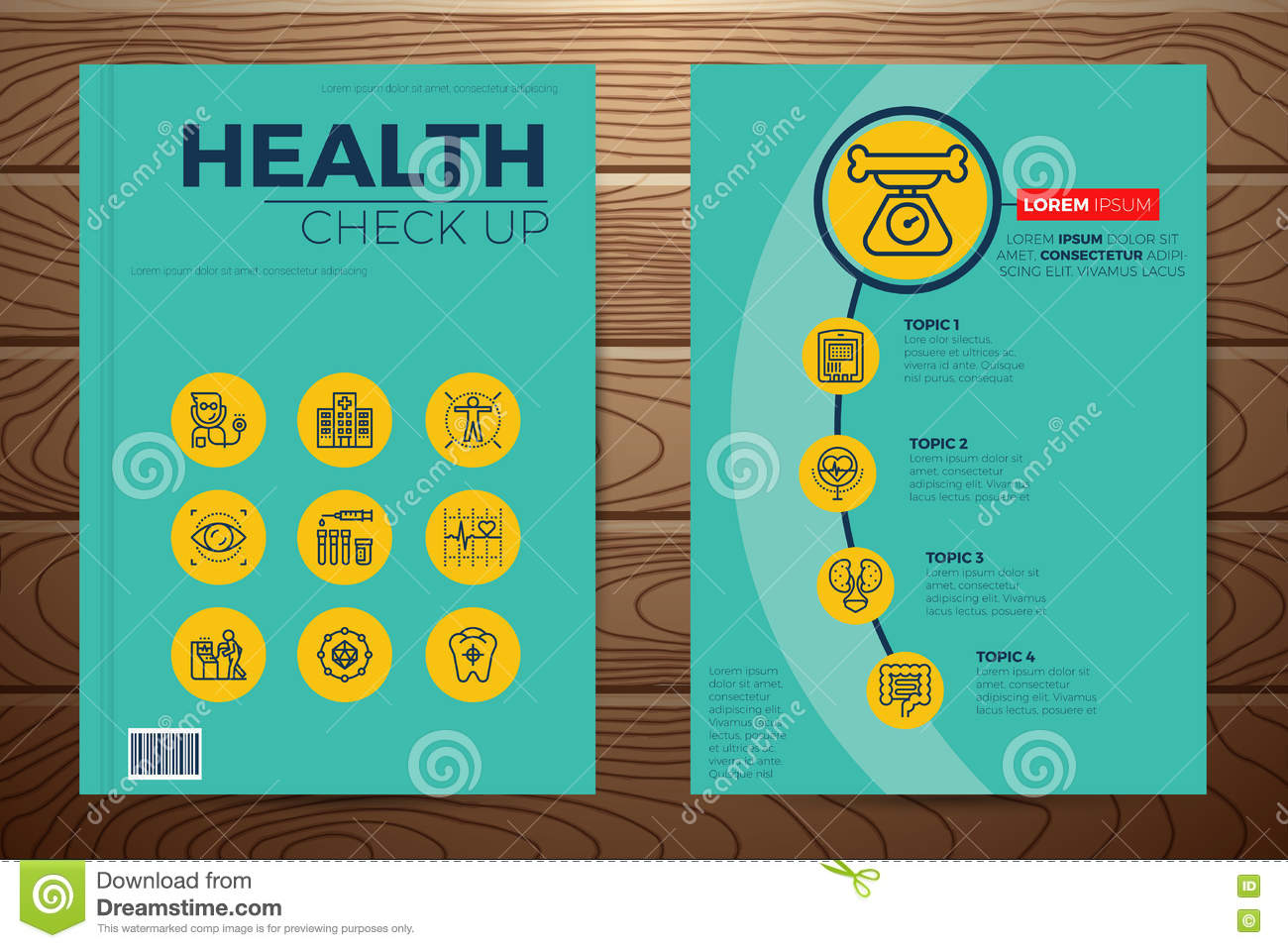Medical Book Cover Template : Medical and health check up book cover stock vector