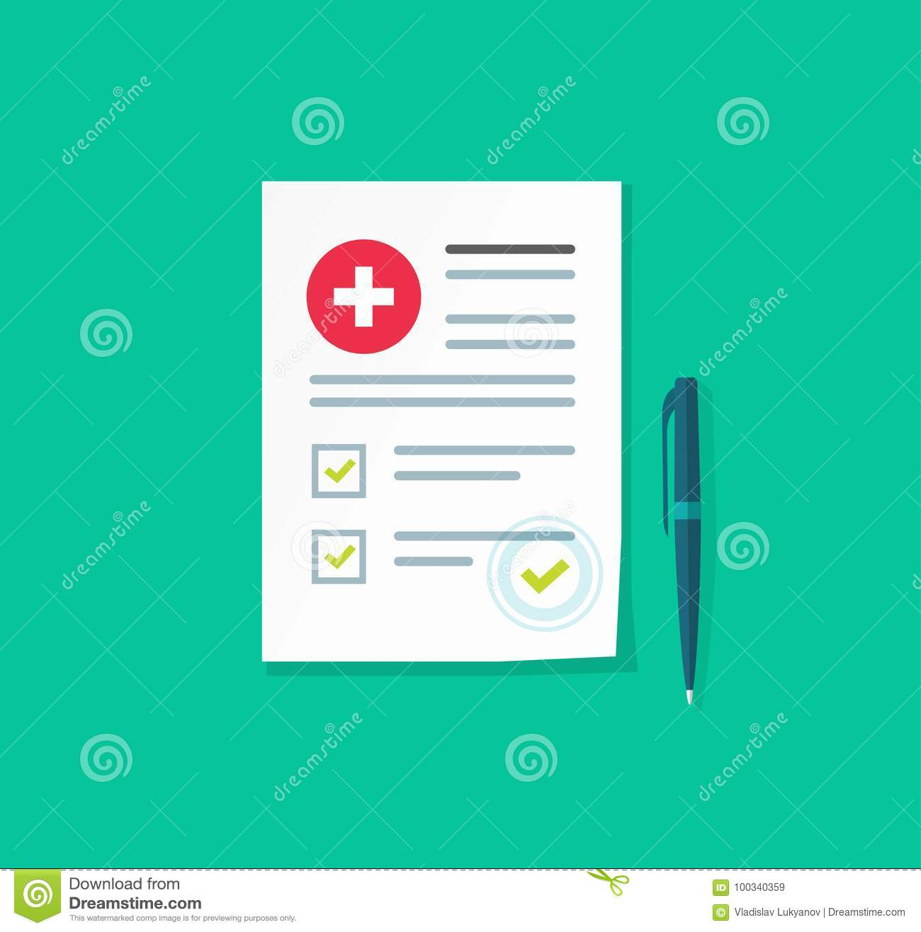 Medical or health insurance document vector illustration, flat carton paper  sheet reports or patient record