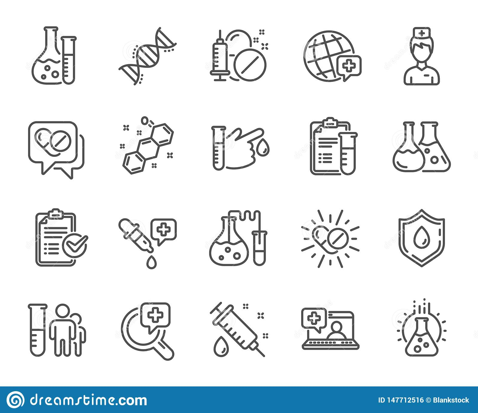 Medical Healthcare Line Icons. Drug Testing, Scientific