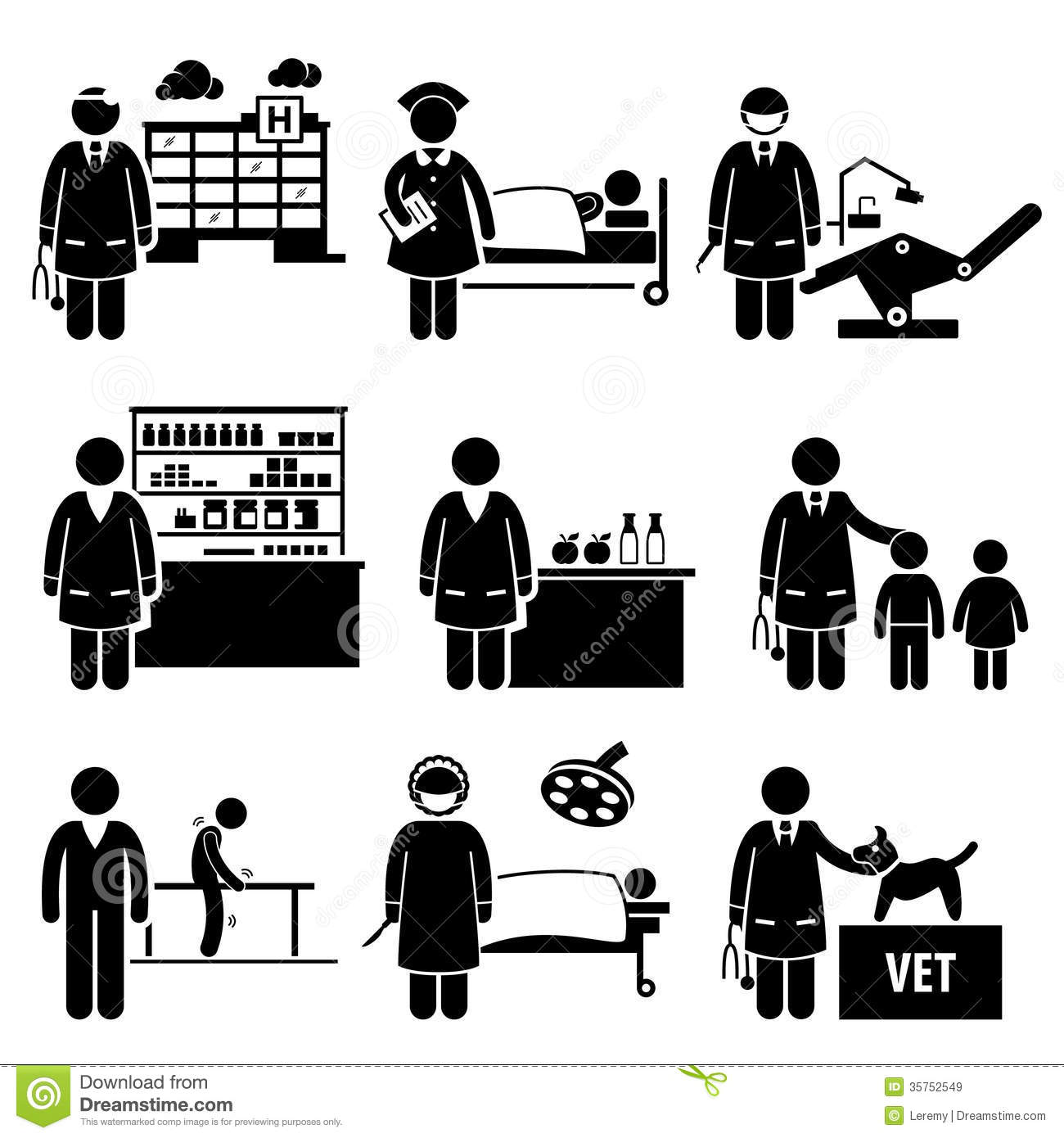 Royalty Free Stock Images Medical Healthcare Hospital Jobs Occupations Caree Set Human Pictograms Representing Professions People Image35752549 on back ache