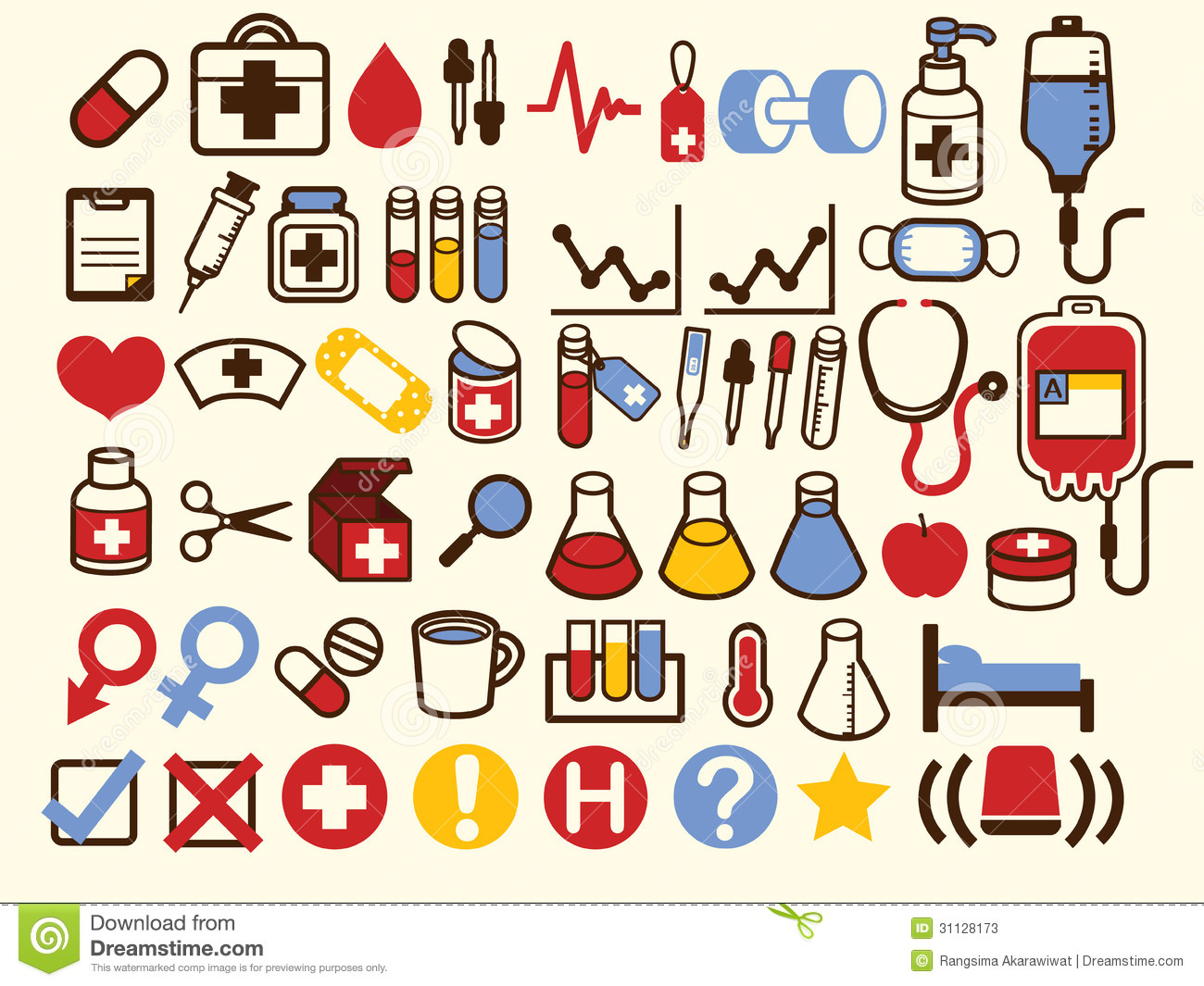 50  medical and healthcare icon stock illustration