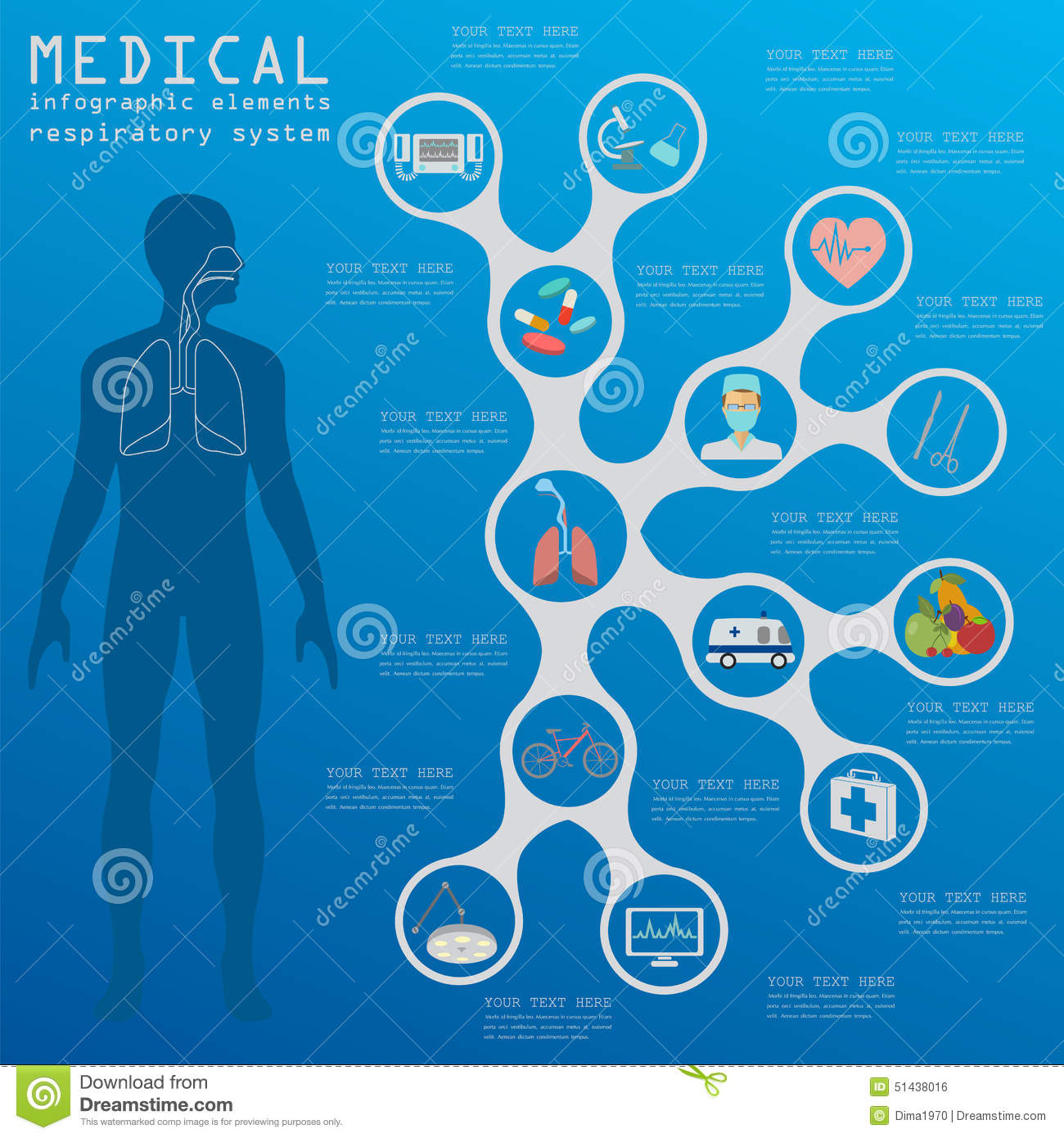 Medical And Healthcare Infographic, Respiratory System
