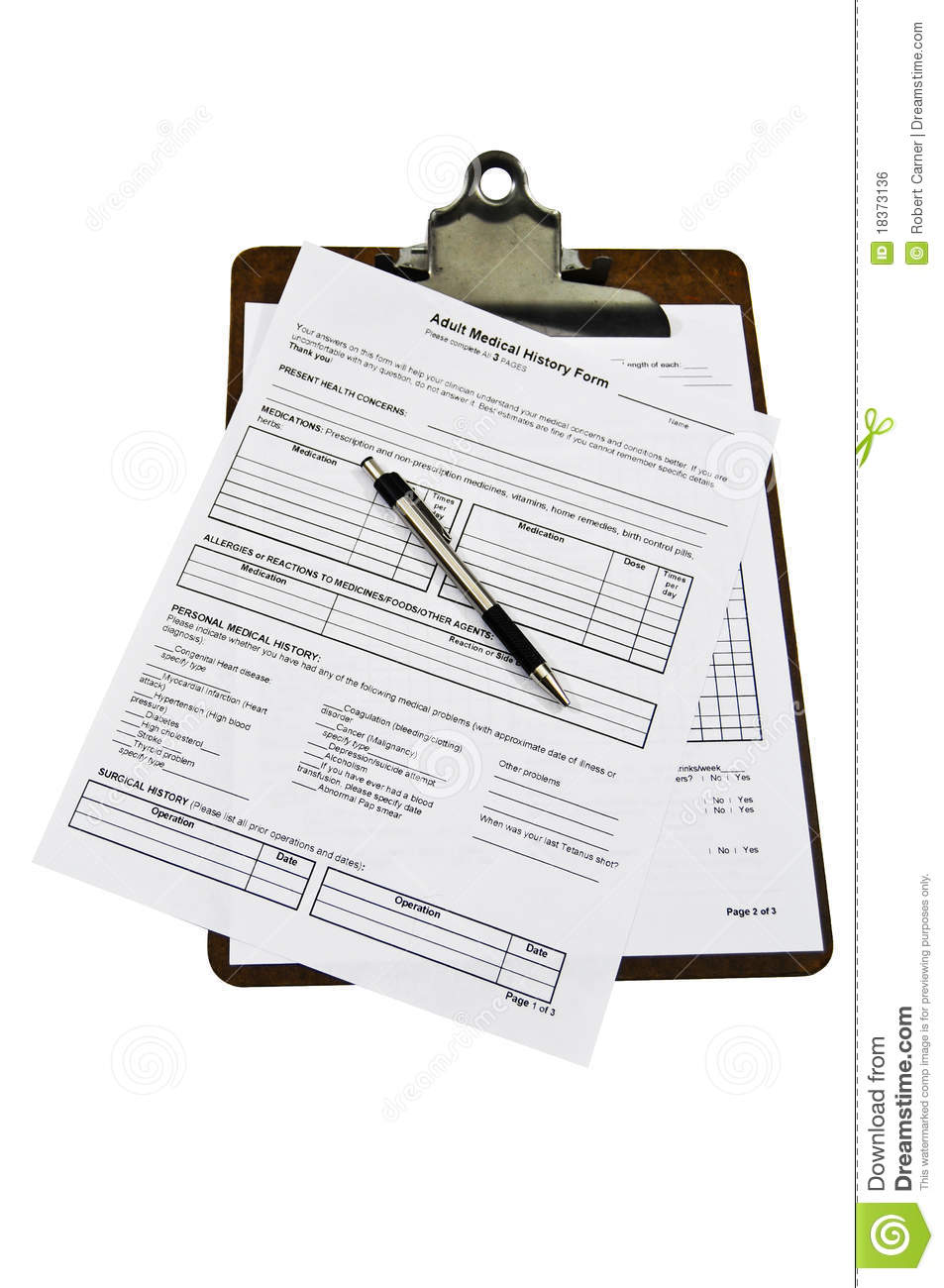 medical history forms on a clipboard stock photo