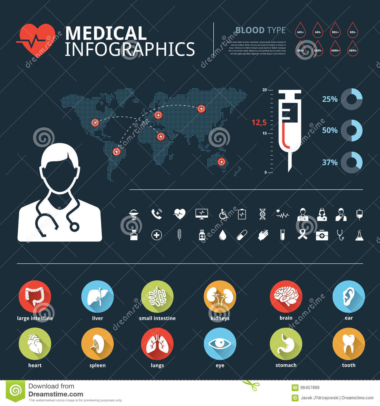 Medical Human Organs Icon Set With Human Body And World Map Info