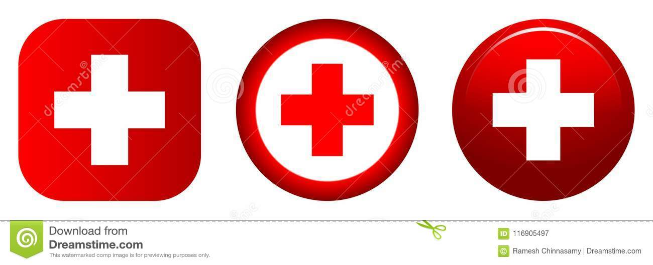 Medical Icon Red Plus Symbol Round Button Editorial Photography
