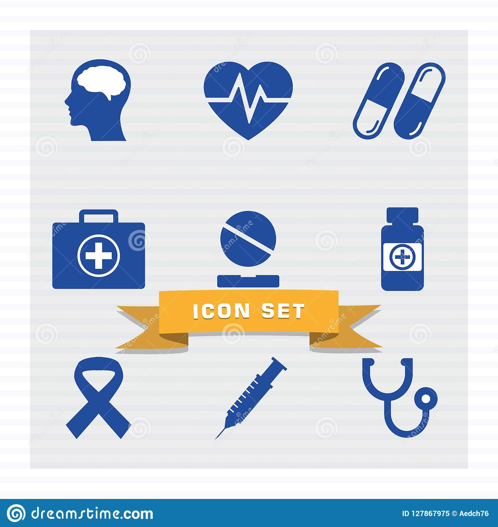 Medical icon set flat style.