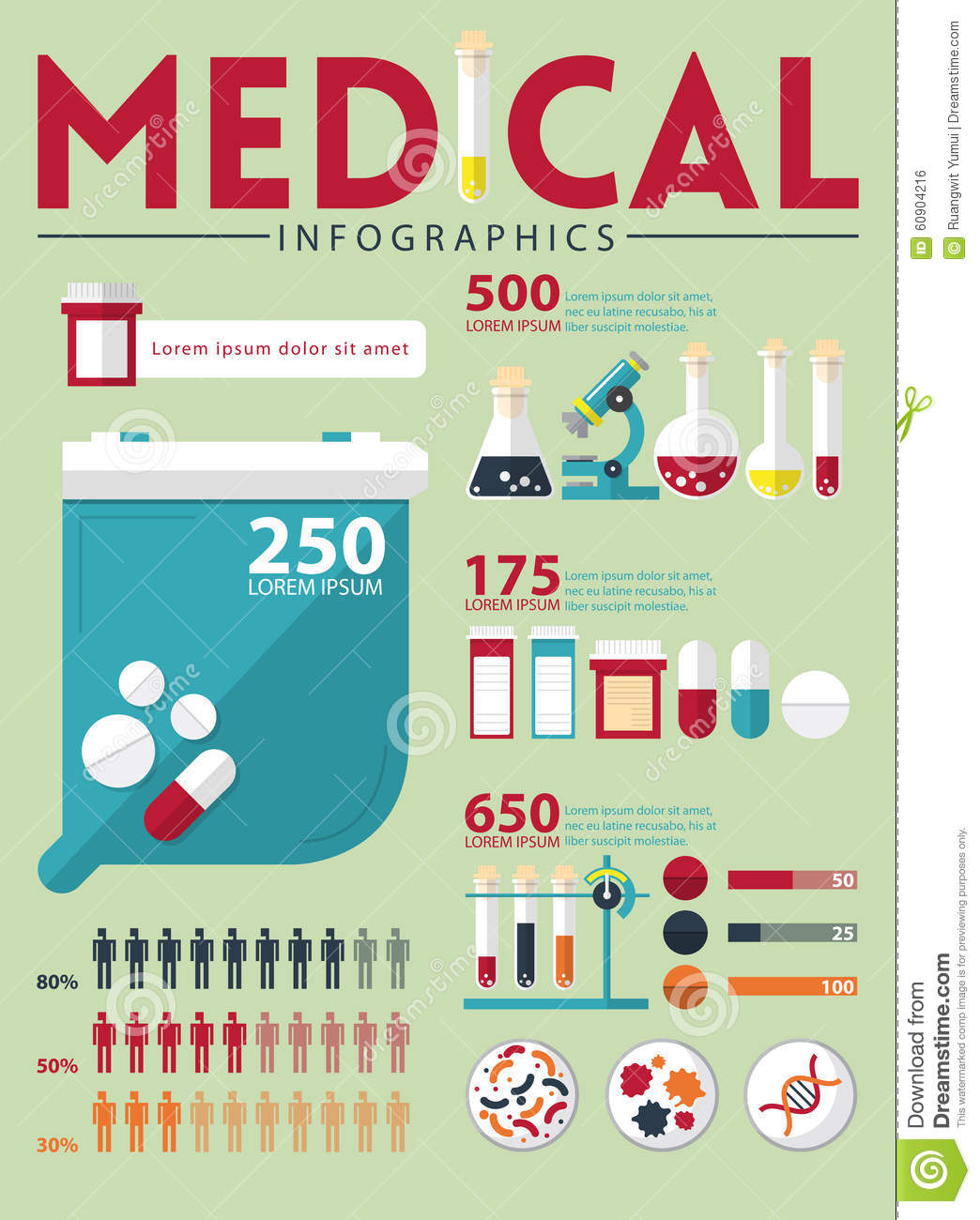 Medical infographic in flat design. Vector.