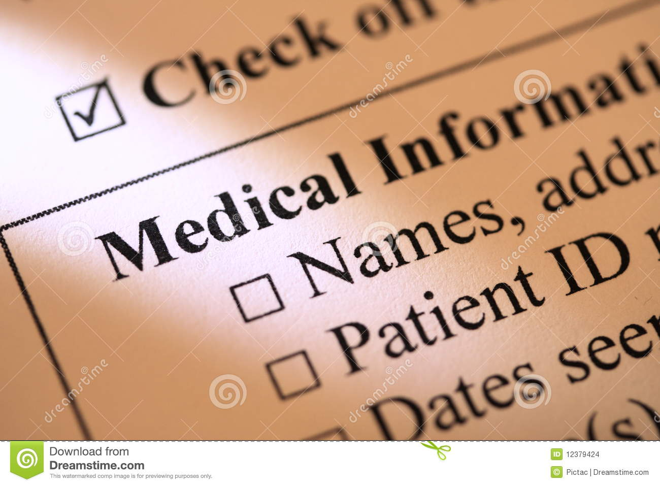 medical information form stock images - image: 12379424, Skeleton
