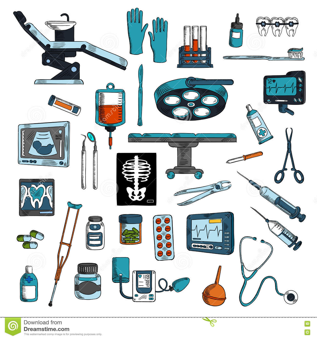 Medical Instruments And Equipments Sketch Icons Stock Vector ...