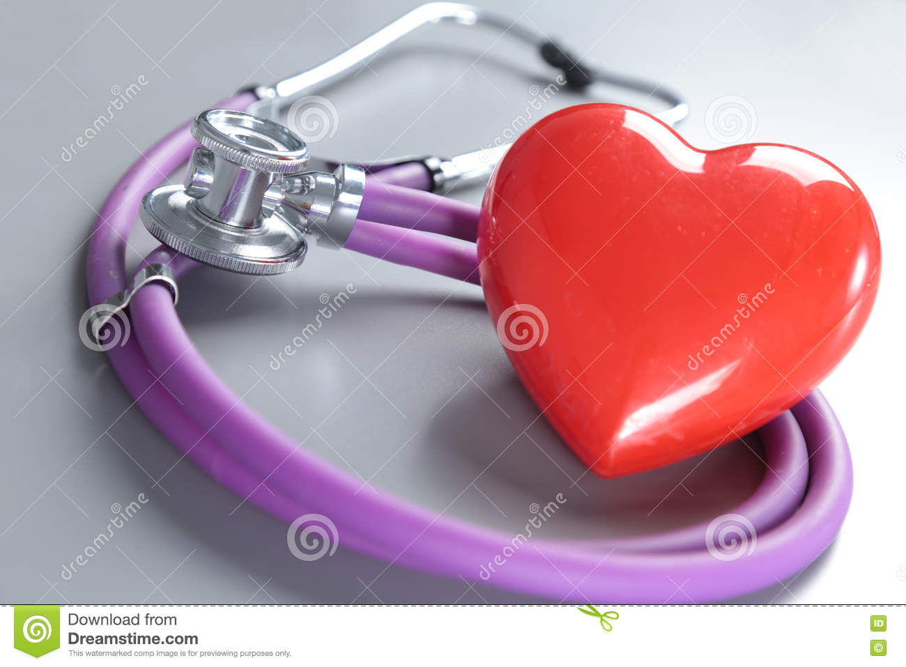 Medical Instruments, Stethoscope And Red Heart For ENT Stock