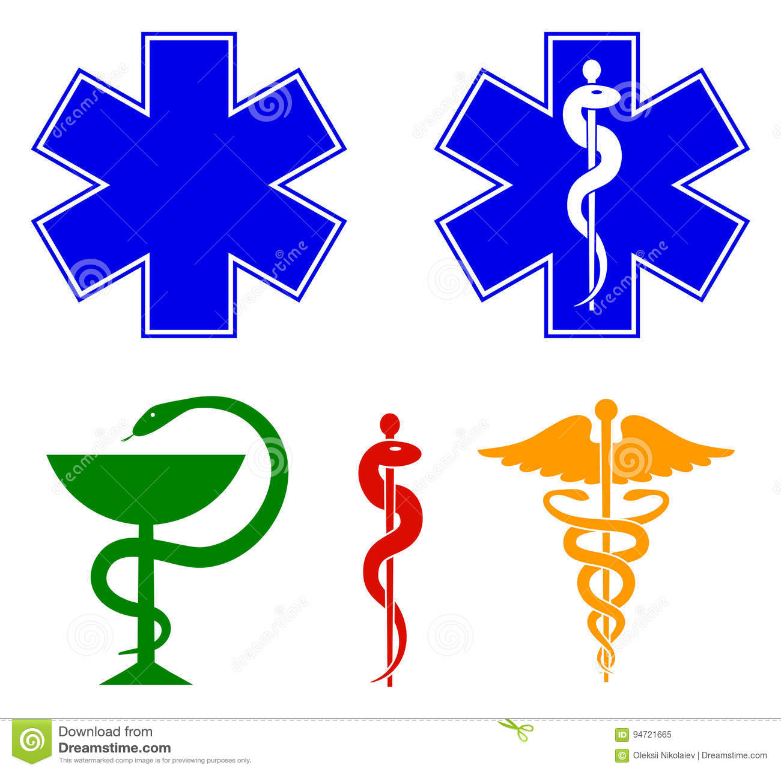 Medical International Symbols Set Star Of Life Staff Of Asclepius