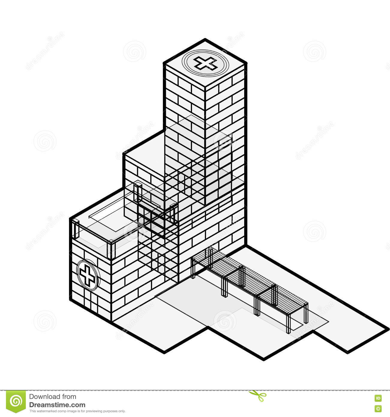 Medical isometric building hospital building isometric for Blog builders