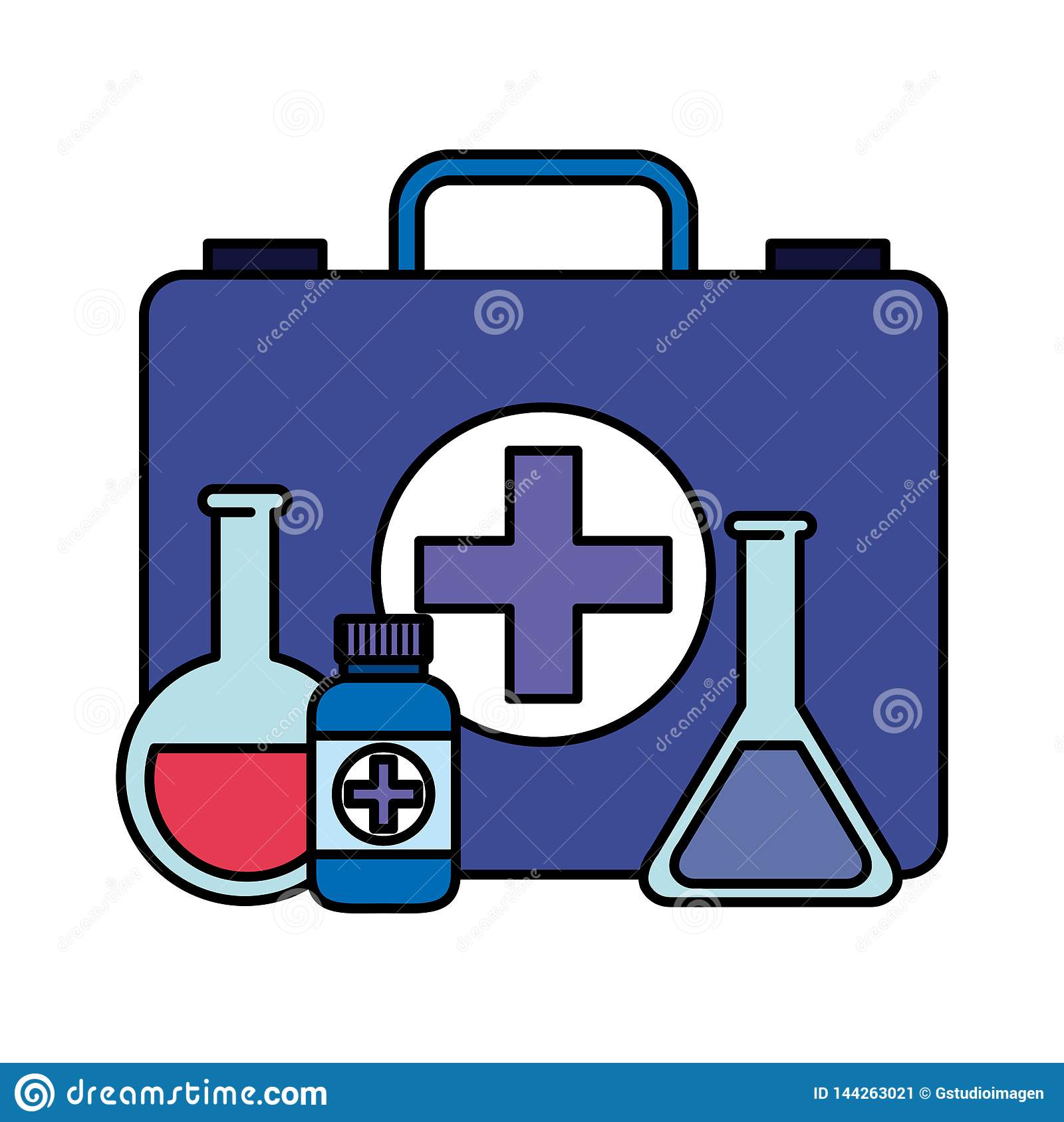 Medical Kit With Tube Test And Bottle Drugs Stock Vector