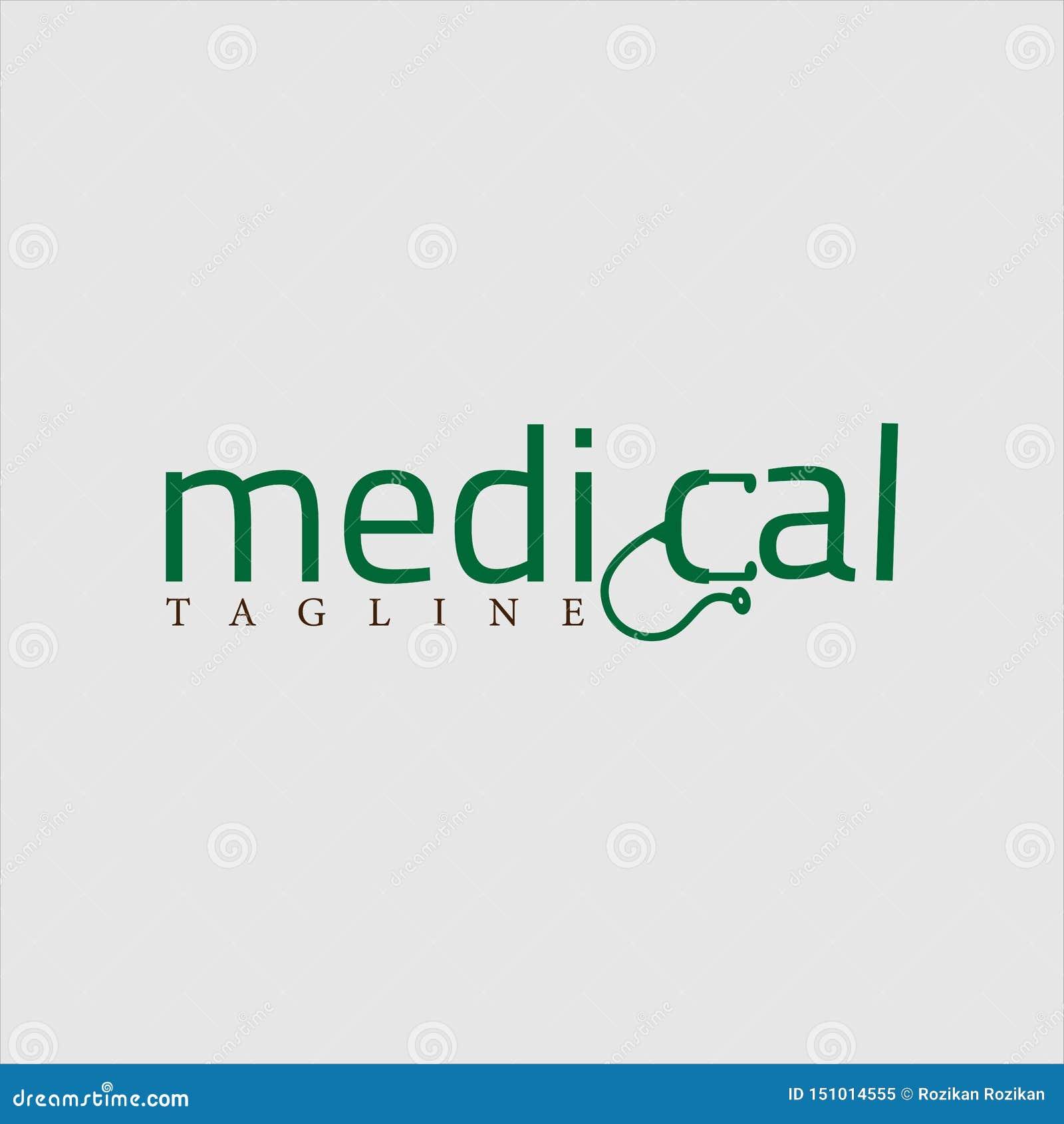 Medical logo design green vector conceptual