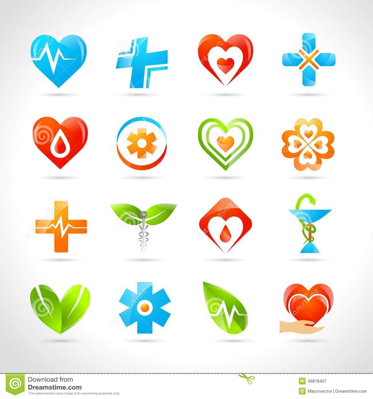 medical pharmacy and healthcare logo designs icons set vector
