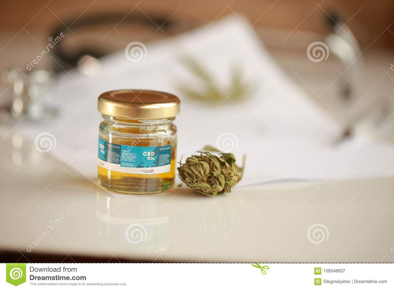 Medical Marijuana Business Cannabis, CBD Oil ,stethoscope And Recipe