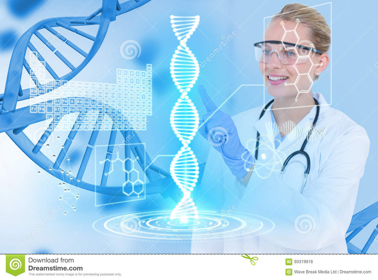 Medical models wearing glasses and white coat against DNA graphics background