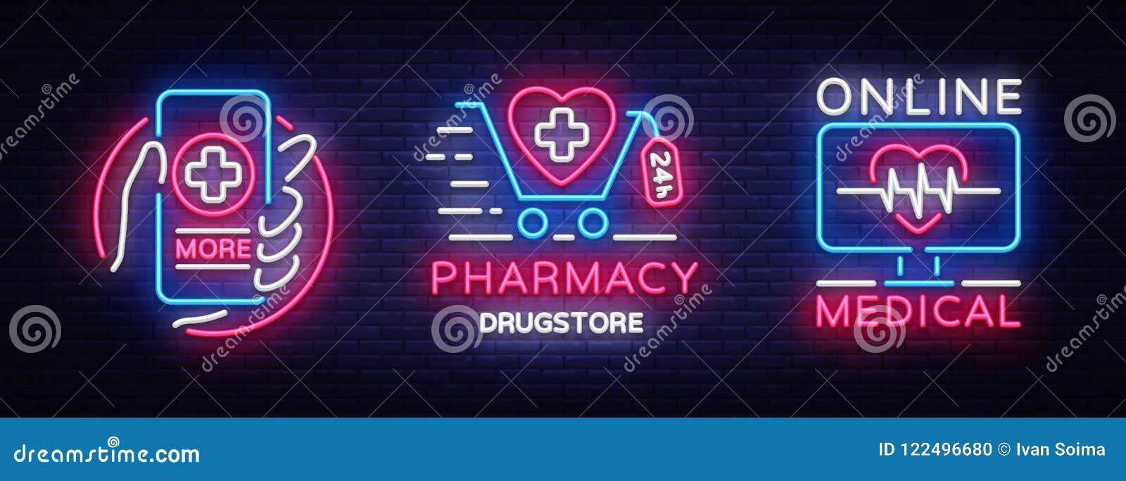 medical neon sign collection vector pharmacy design template neon