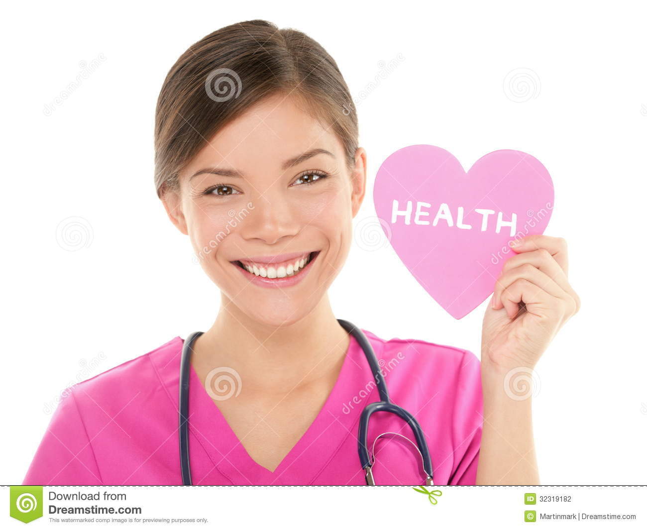 Medical nurse doctor showing HEALTH sign on heart