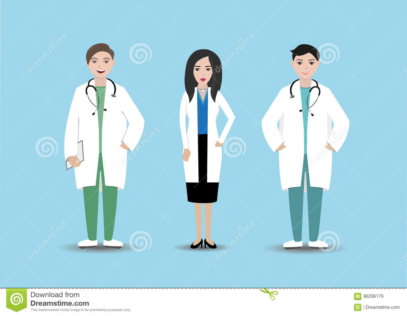Medical personnel in hospital. Isolated doctors with folder and stethoscope on blue background. Clinic staff.