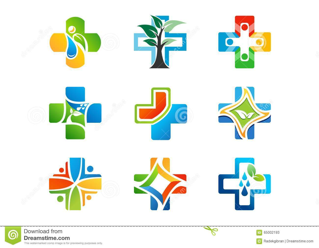 medical pharmacy logo health medicine plus icons set of