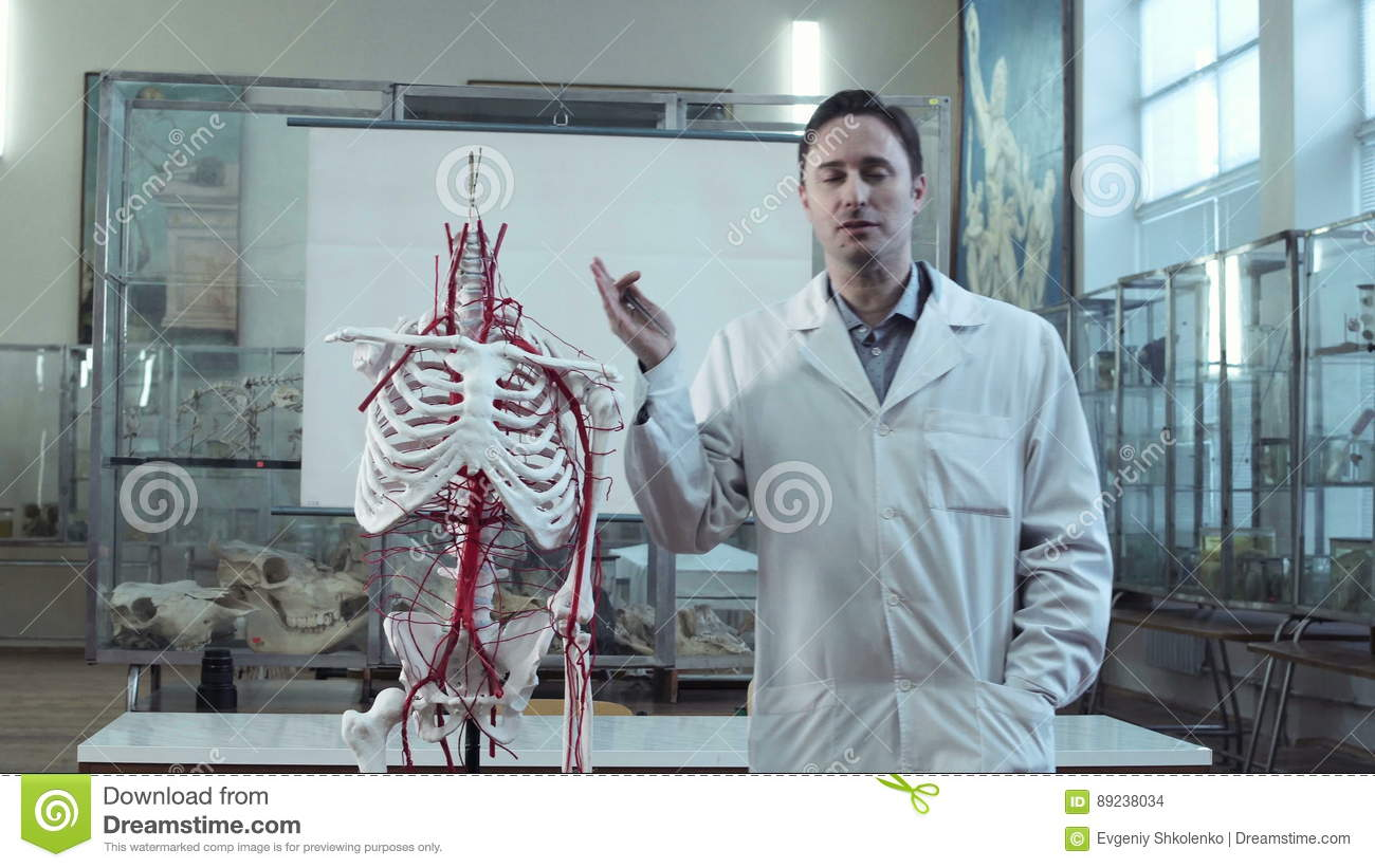 Medical Professor In Anatomy Class With Skeleton Stock Footage