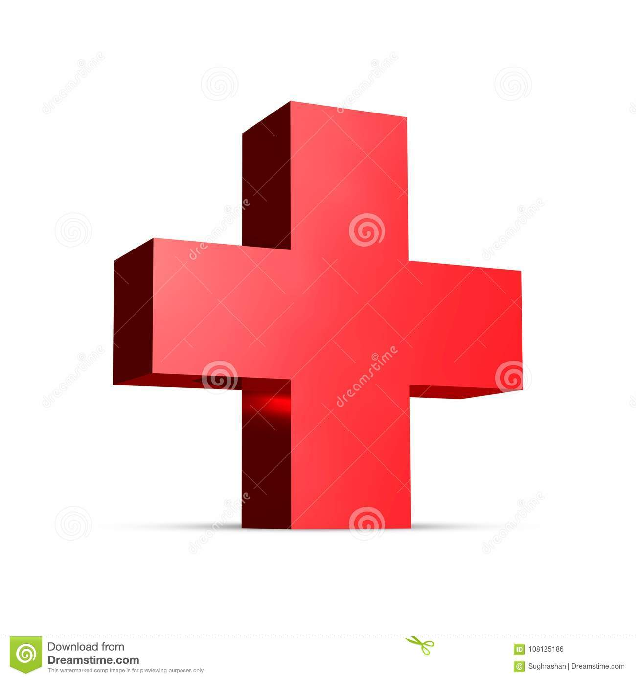 medical red cross 3d rendering plus sign editorial photo