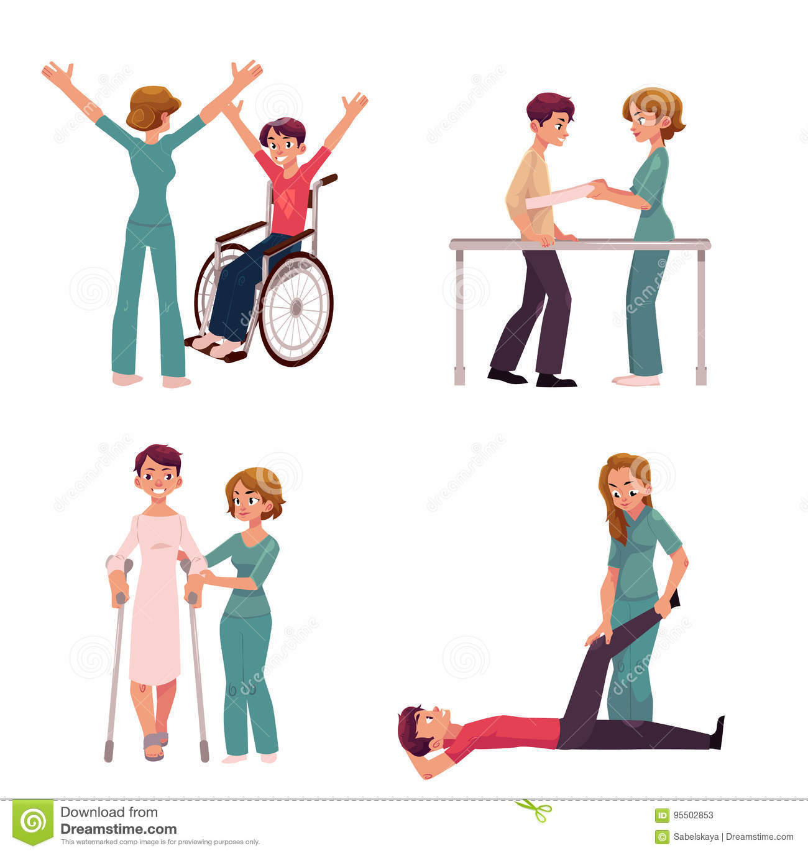 Cartoon physical therapy - Cartoon Illustration Medical Nurse Physical Physiotherapist Rehabilitation Therapy