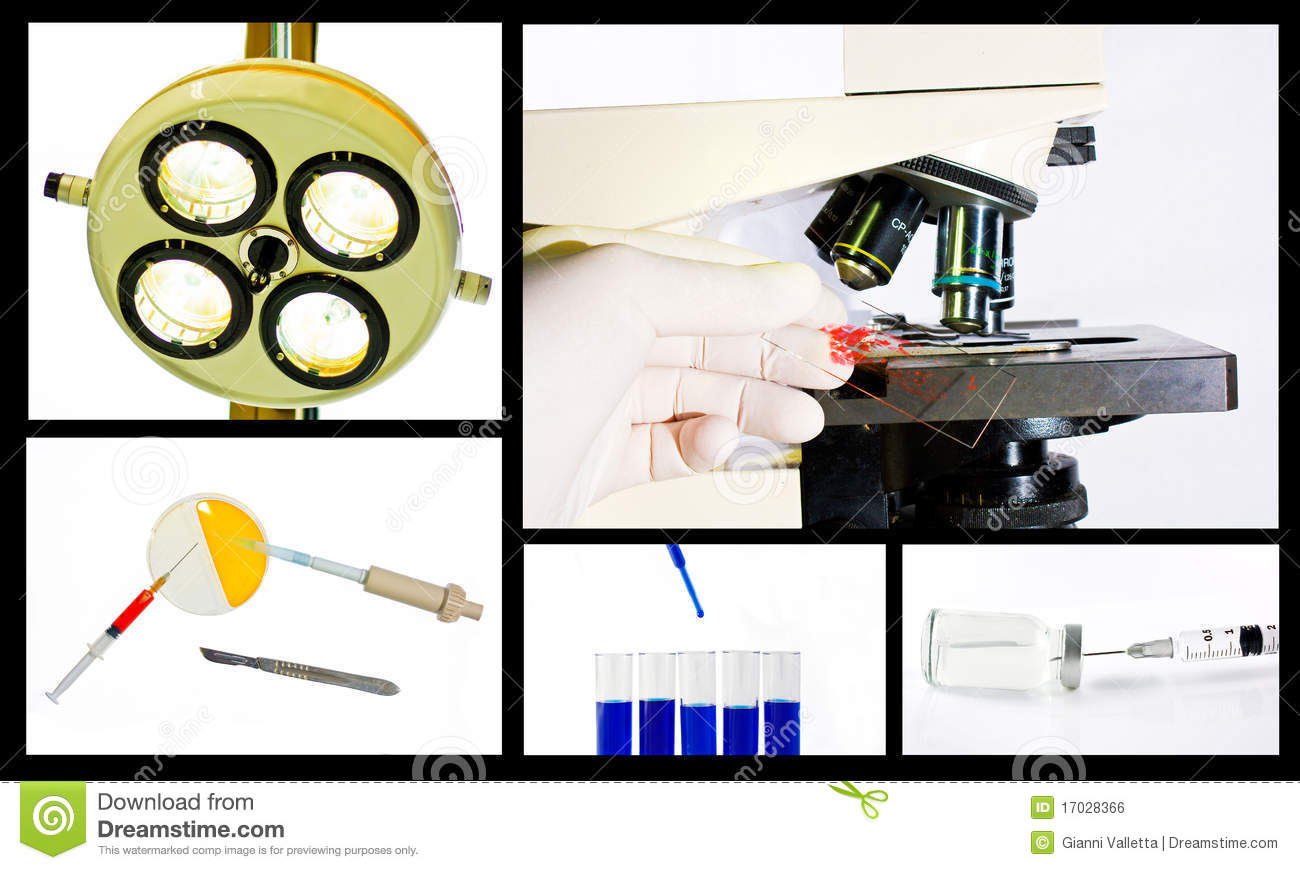 Medical scientific research collage concept