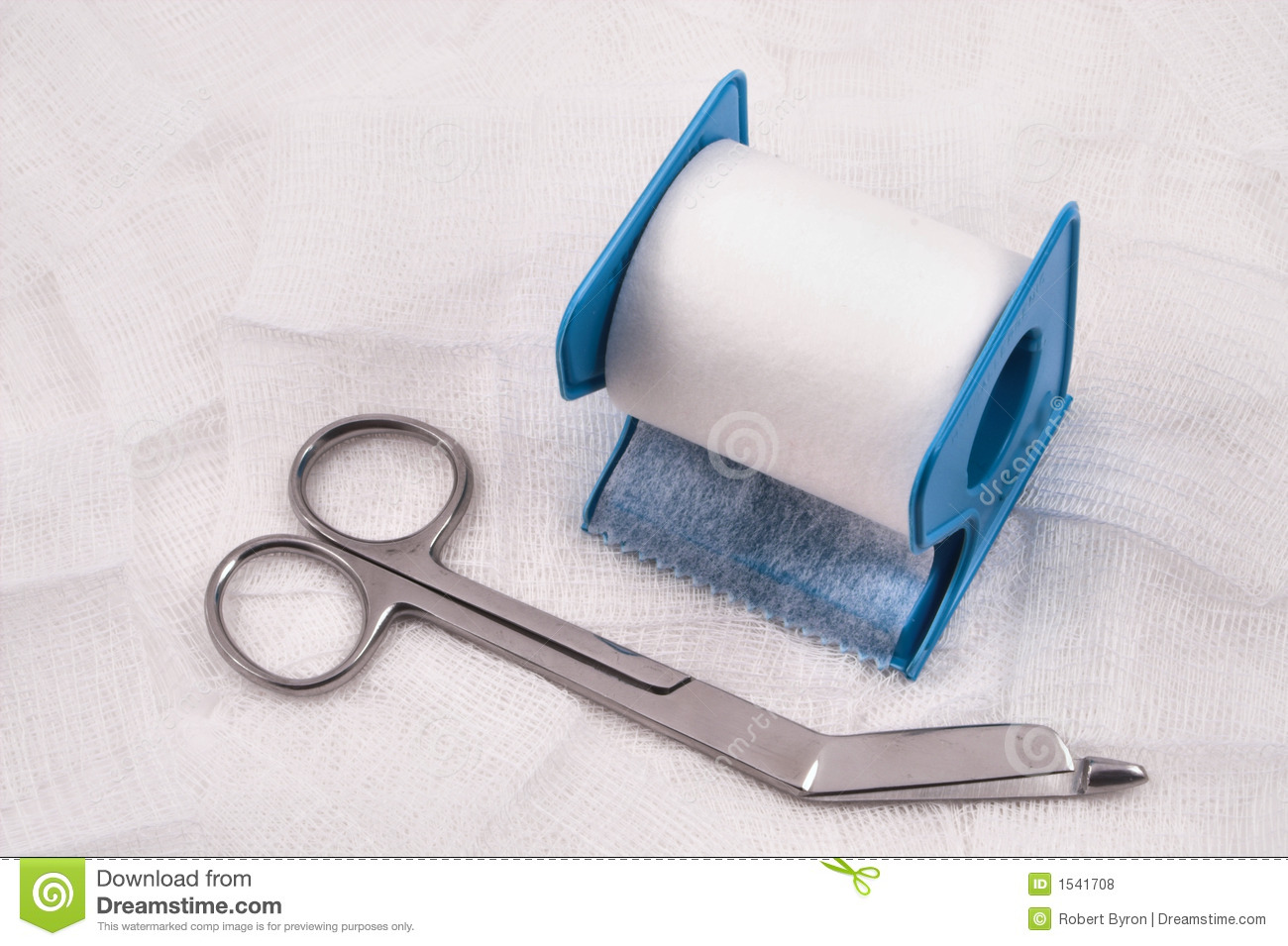 medical scissors gauze and tape royalty free stock photos