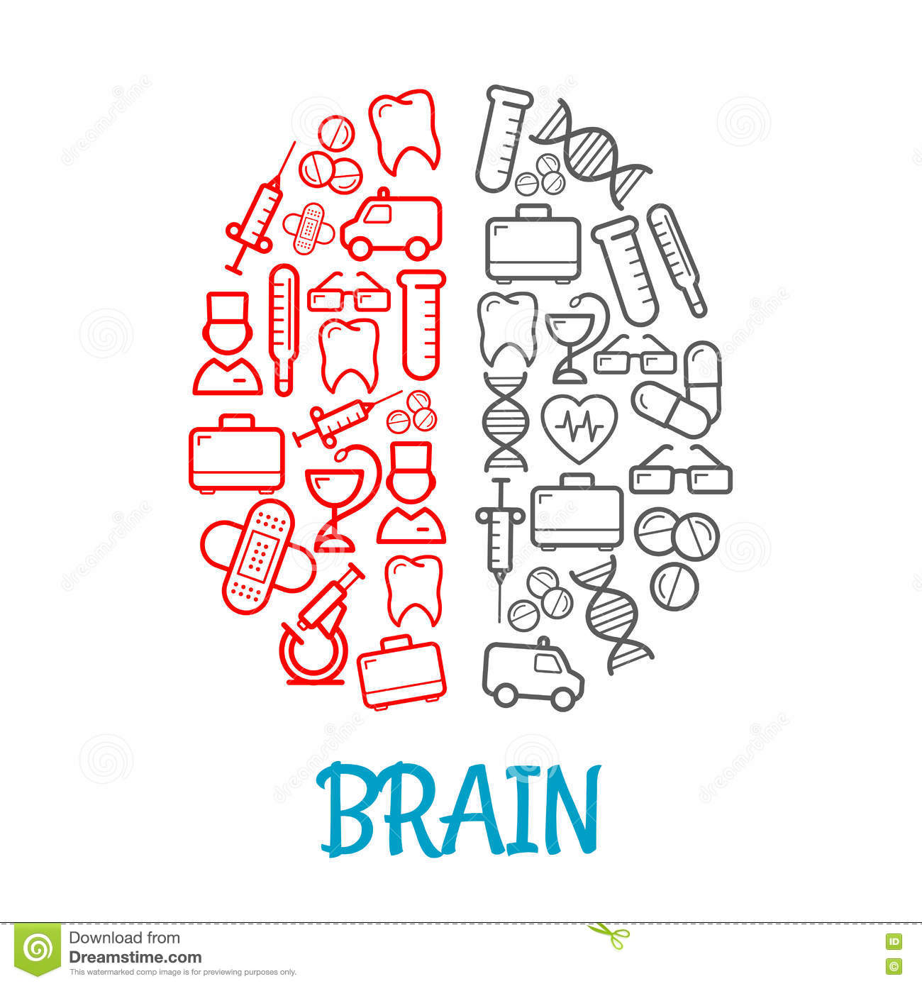 Medical sketch icons shaped as human brain symbol stock vector medical sketch icons shaped as human brain symbol biocorpaavc Images