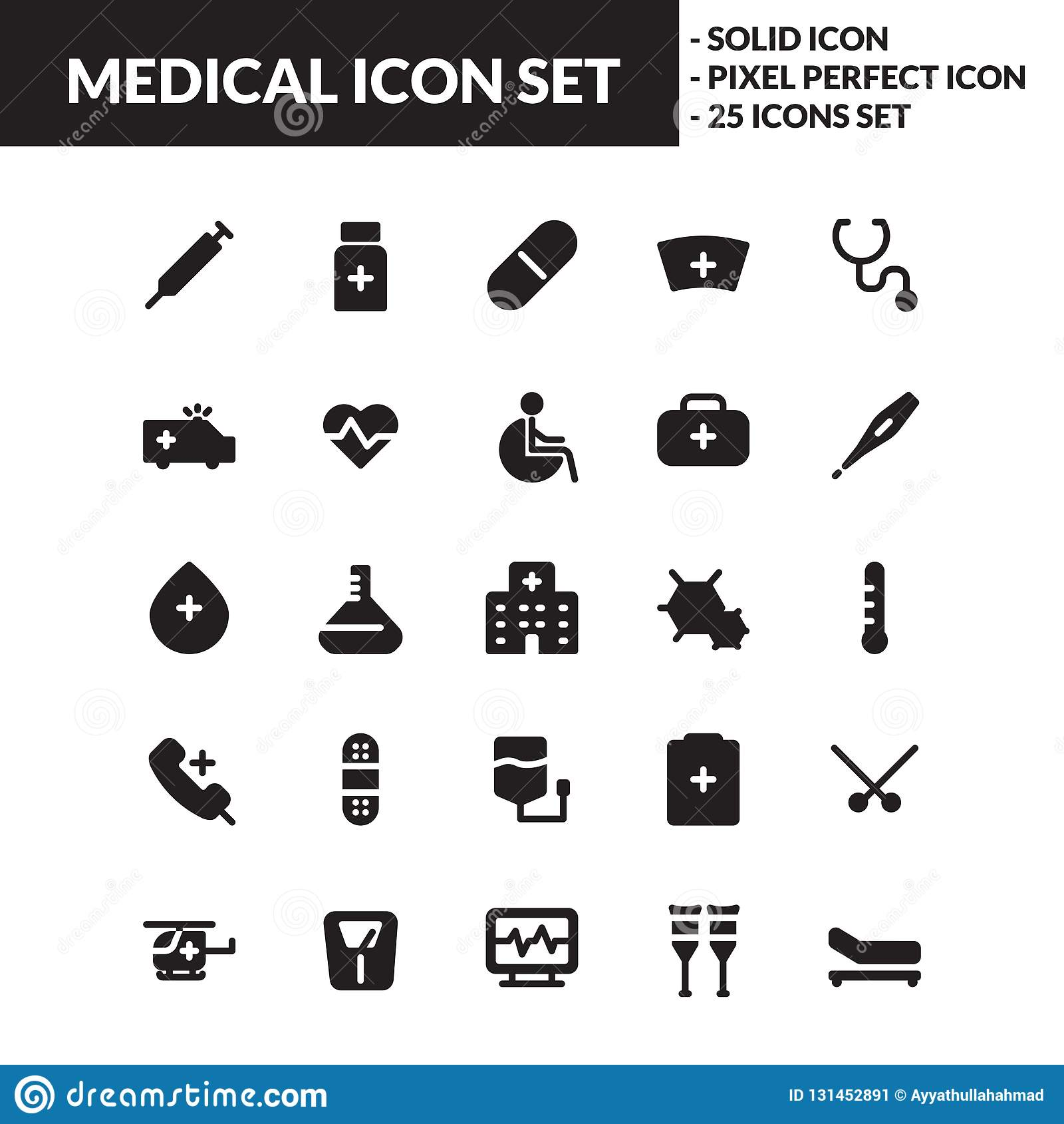 Medical solid icon set
