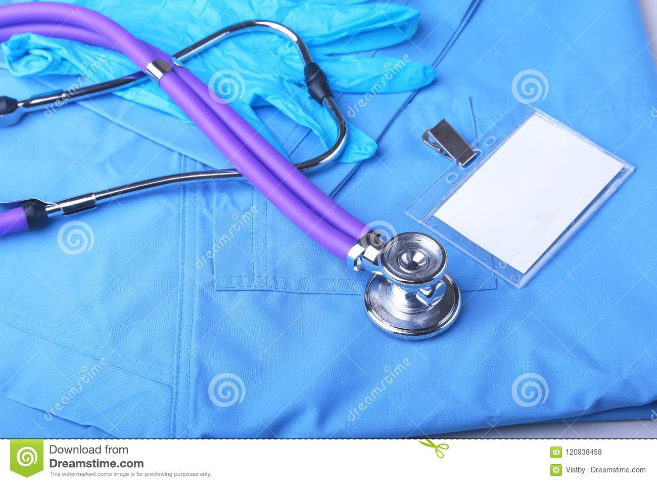 Medical Stethoscope Lying On A Blue Doctor`s Form And Notepad Close ...