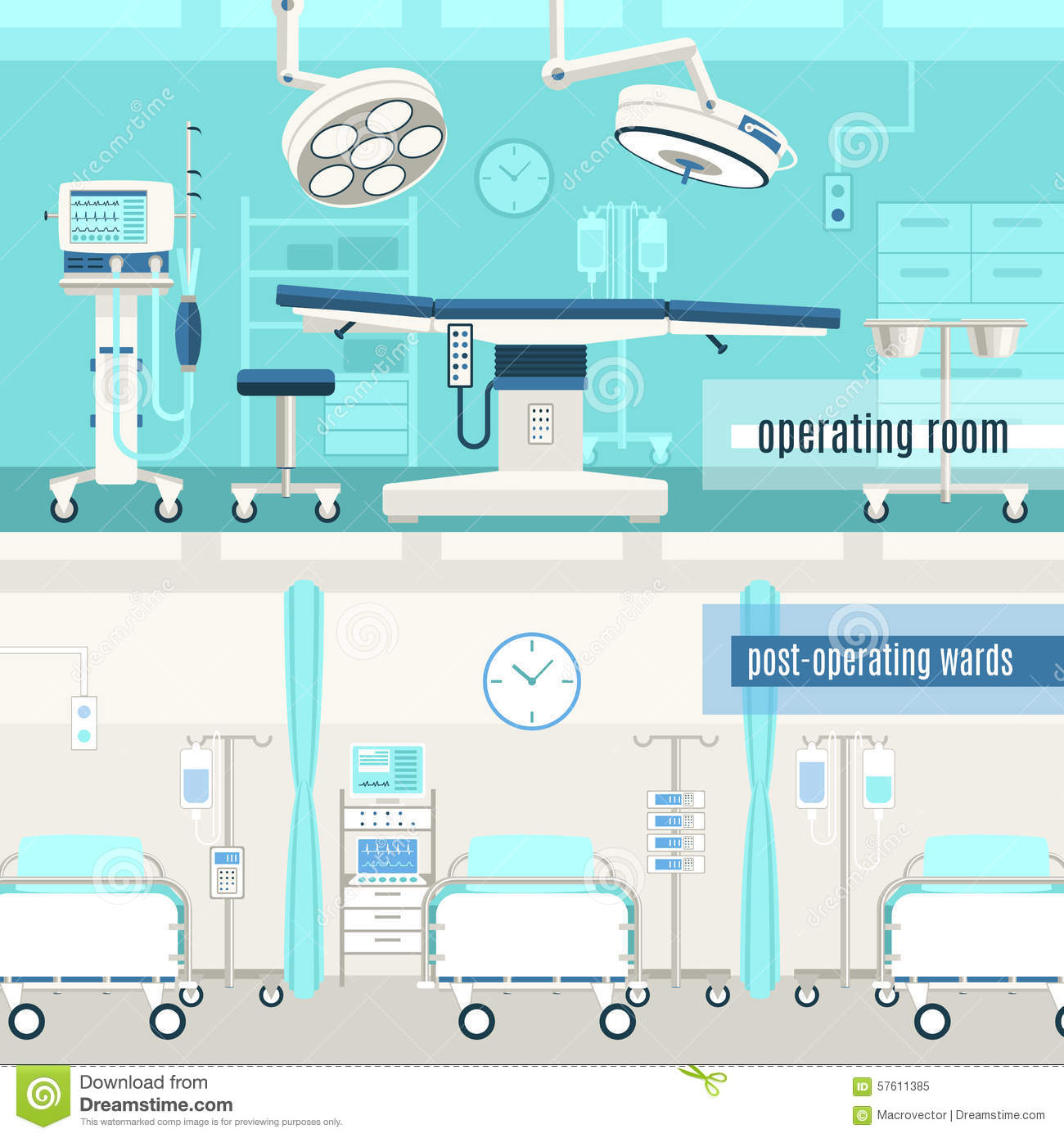 Medical surgery operation 2 banners set