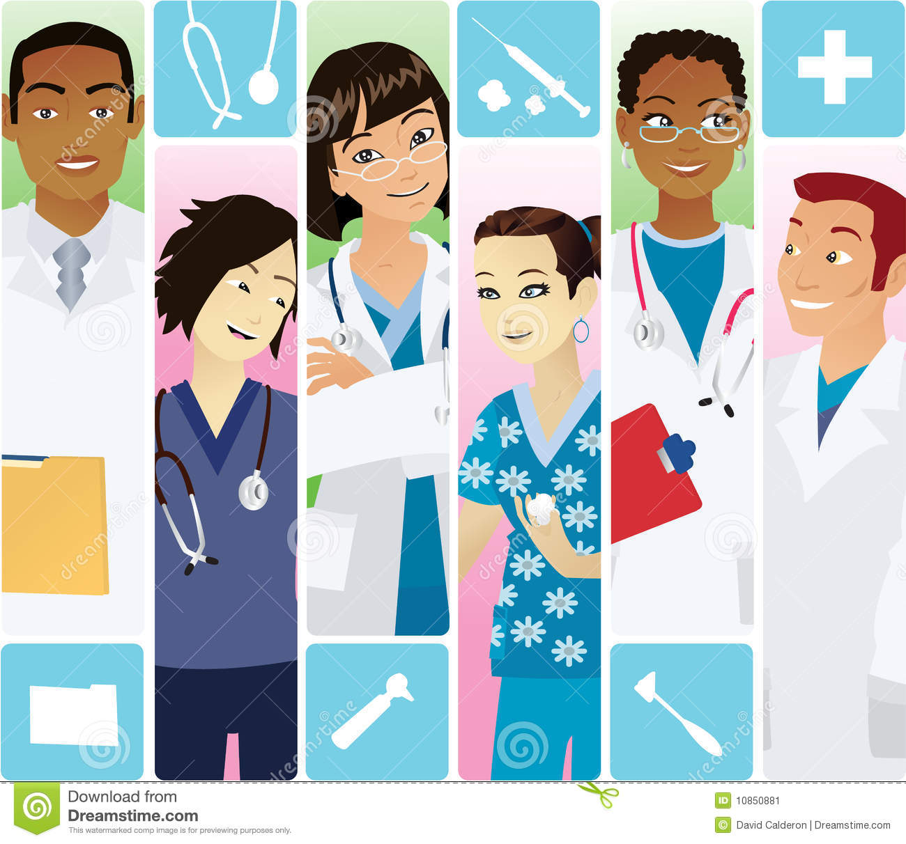 Doctors and nurses from different ethnicities.
