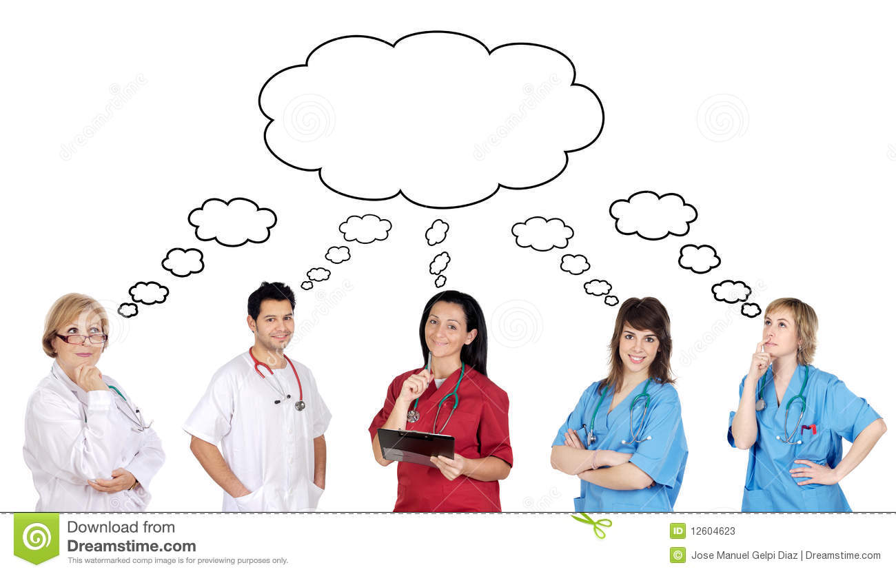 Medical Team With Pensive Face Stock Image