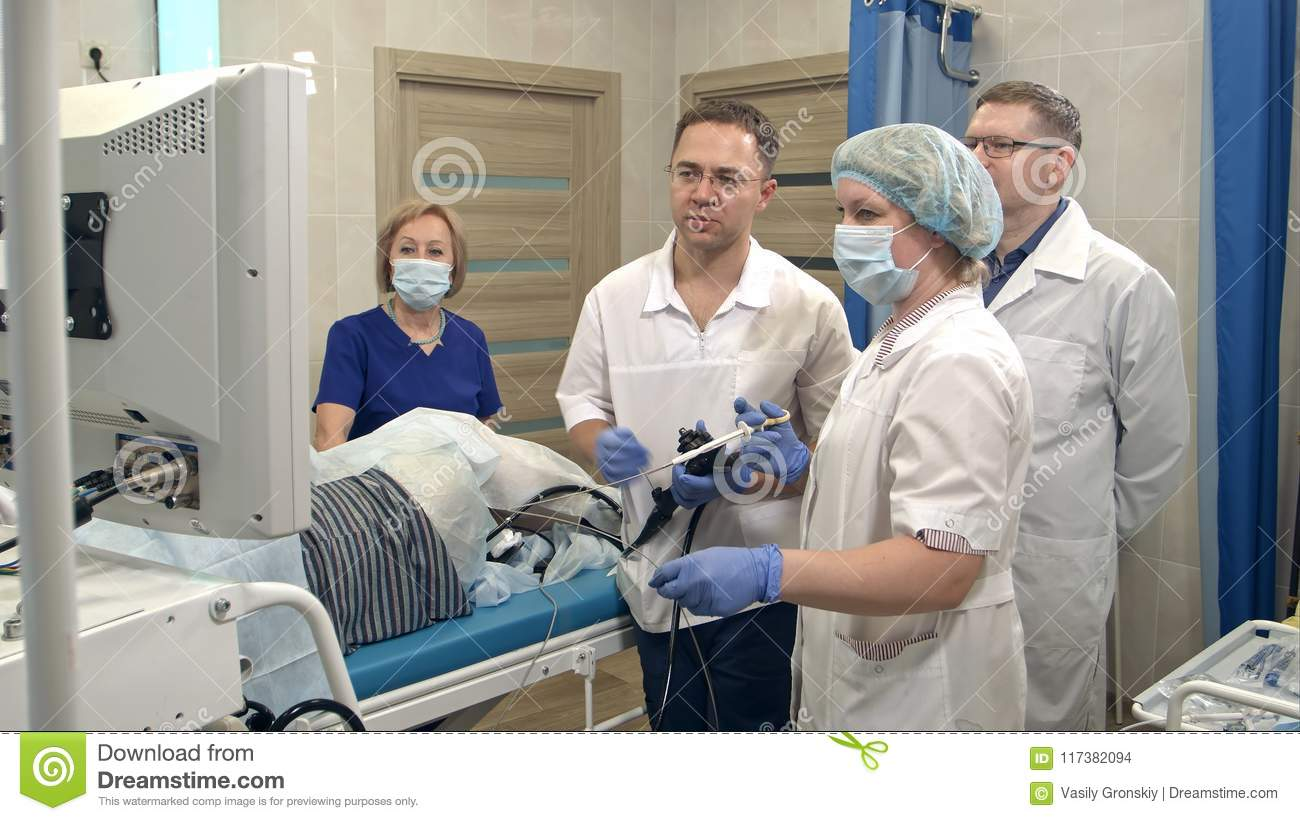 Medical Team Preparing For Endoscopic Surgery Stock Photo